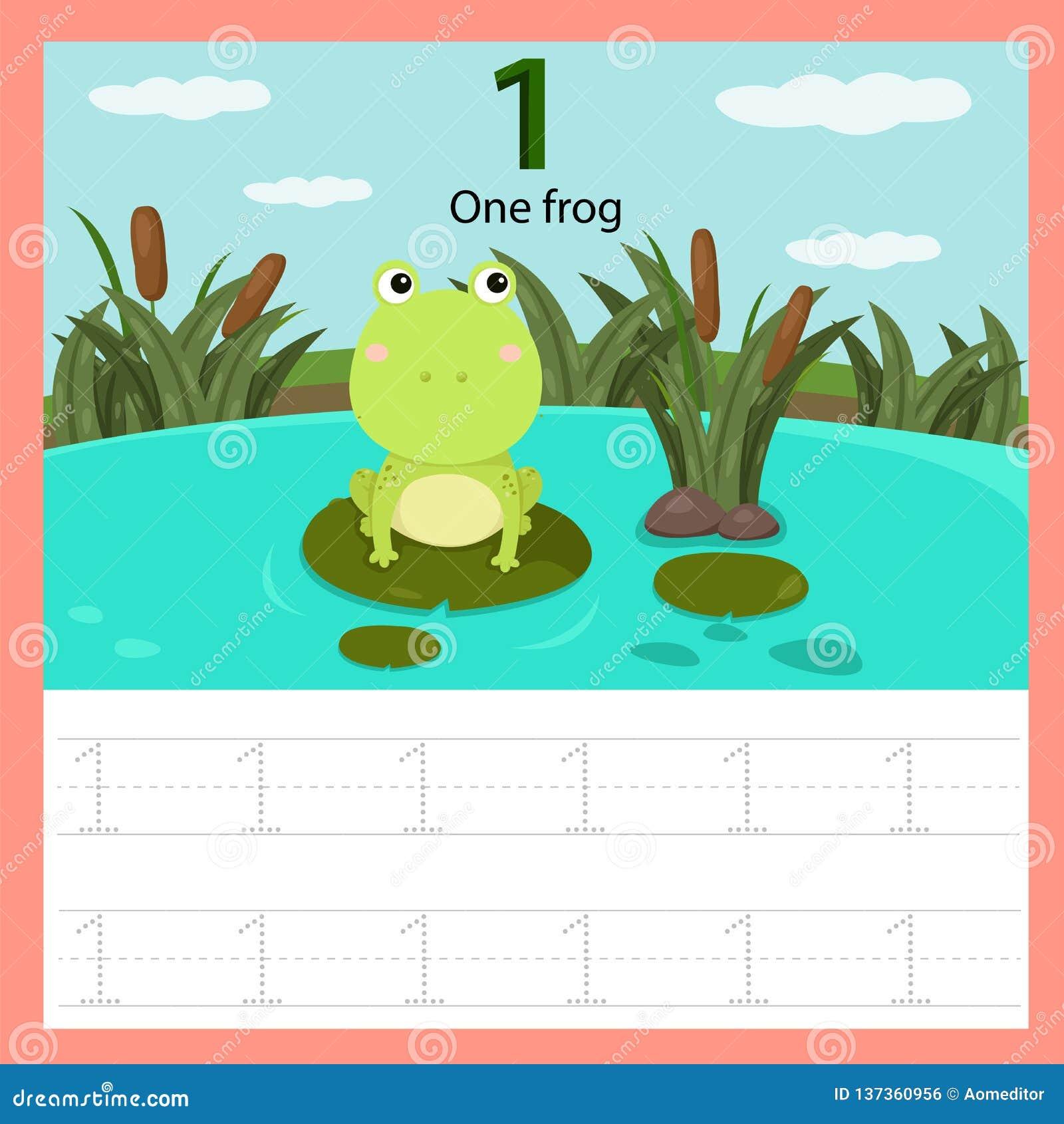 Illustrator de la rana de la hoja de trabajo una