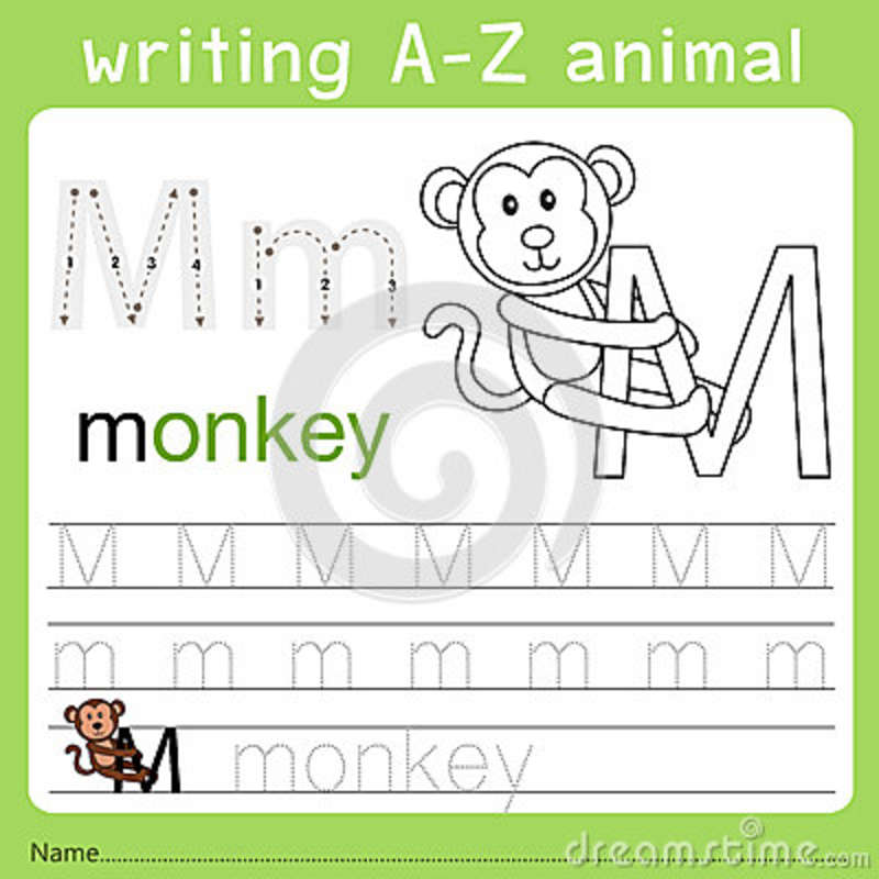 Illustrator del animal m del a-z de la escritura