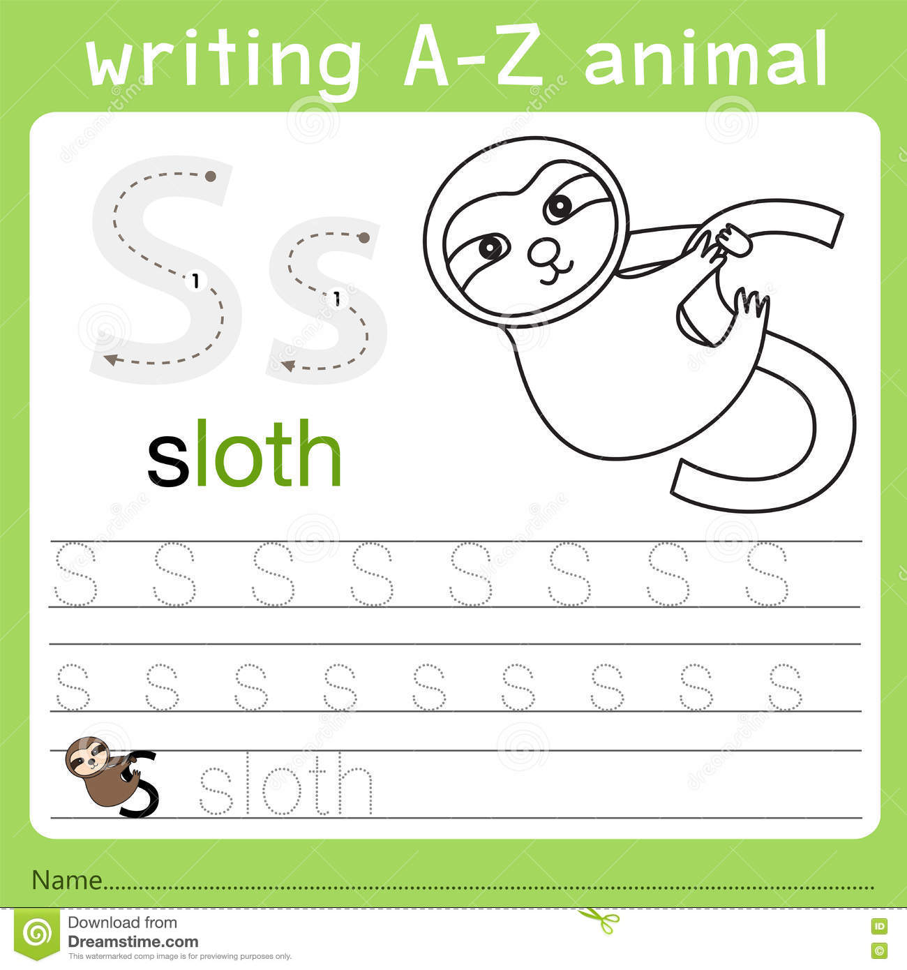 Illustrator del animal s del a-z de la escritura