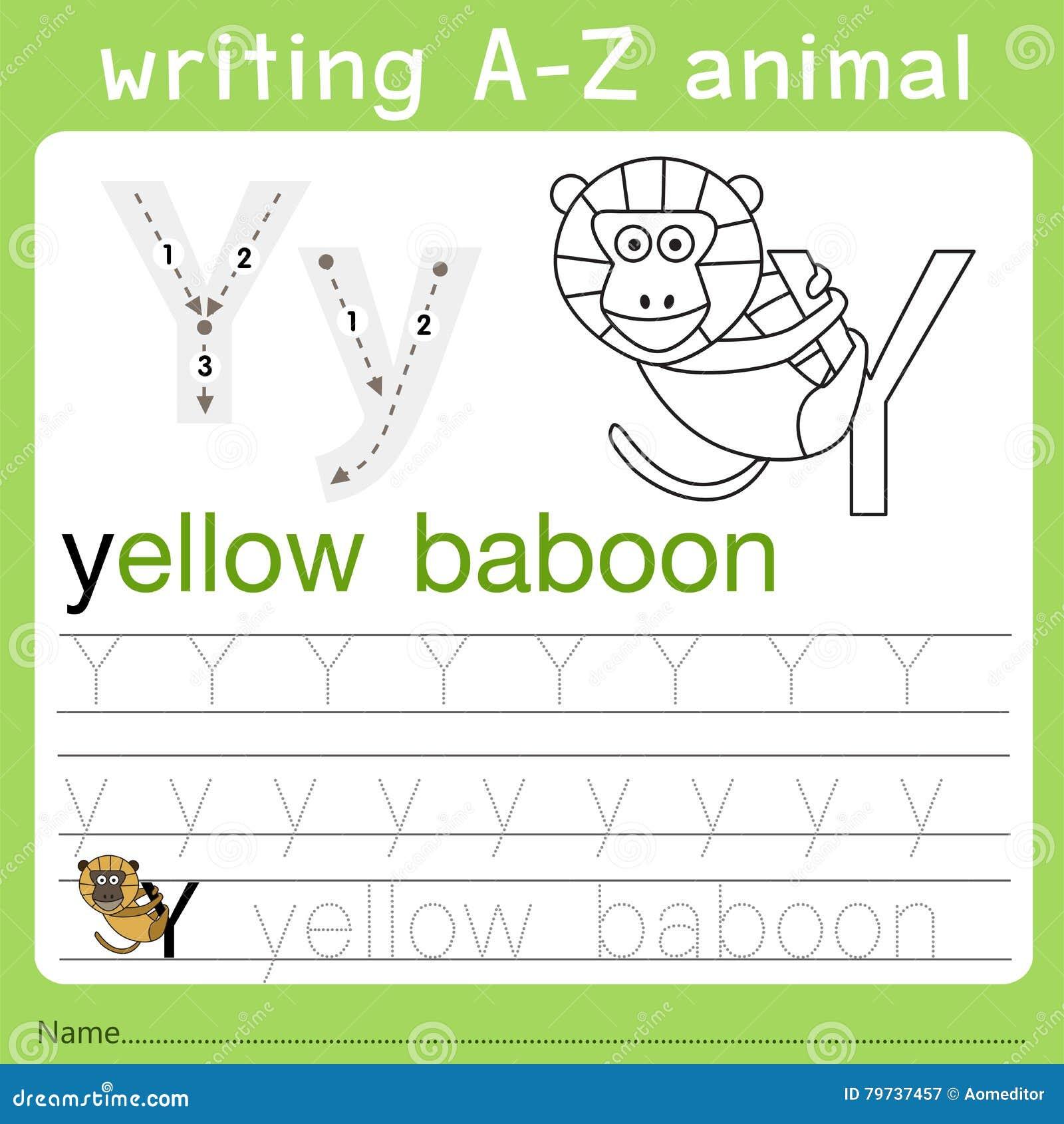 Illustrator del animal y del a-z de la escritura