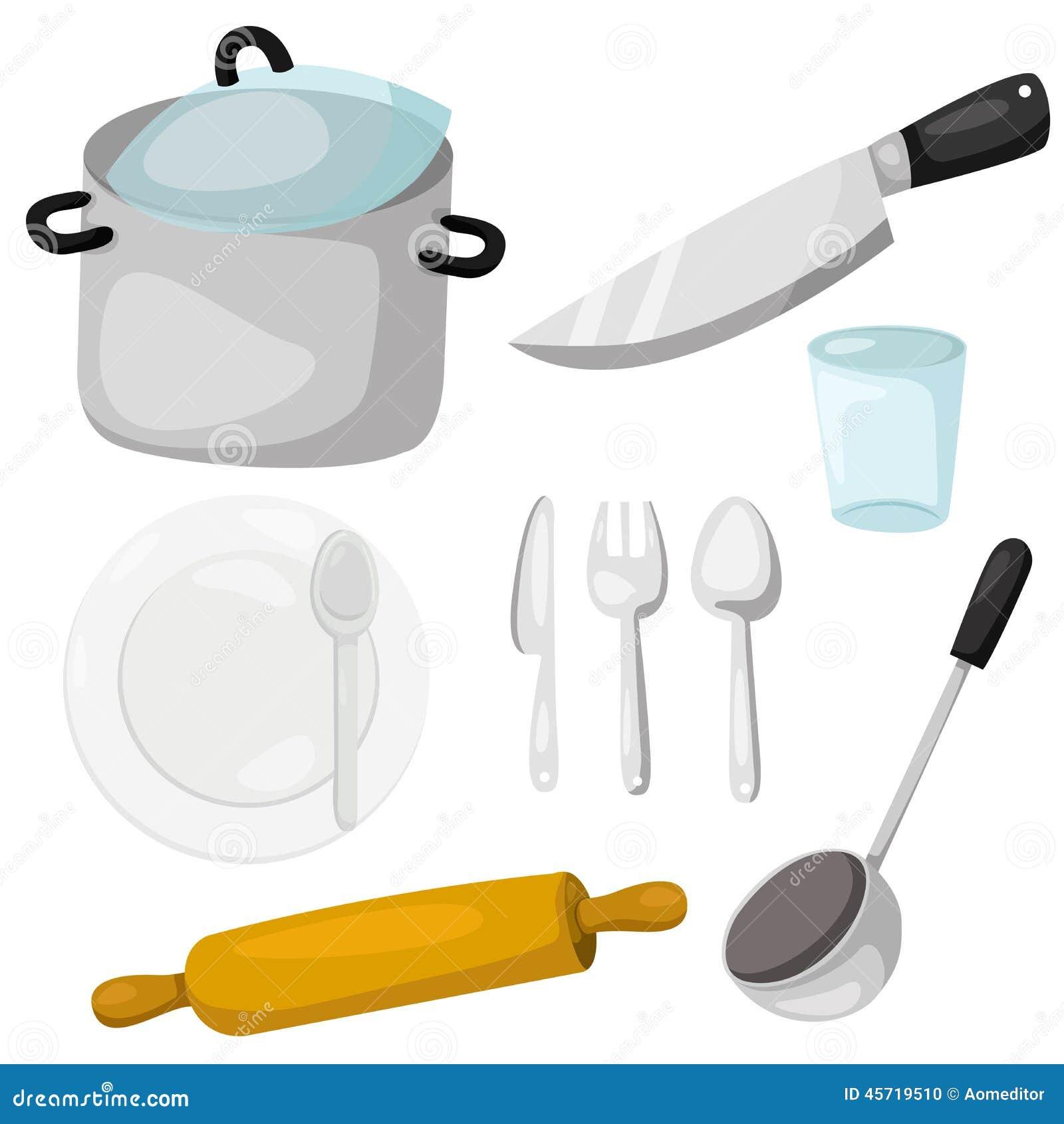 illustrator del art culos de cocina con loza y la cocina