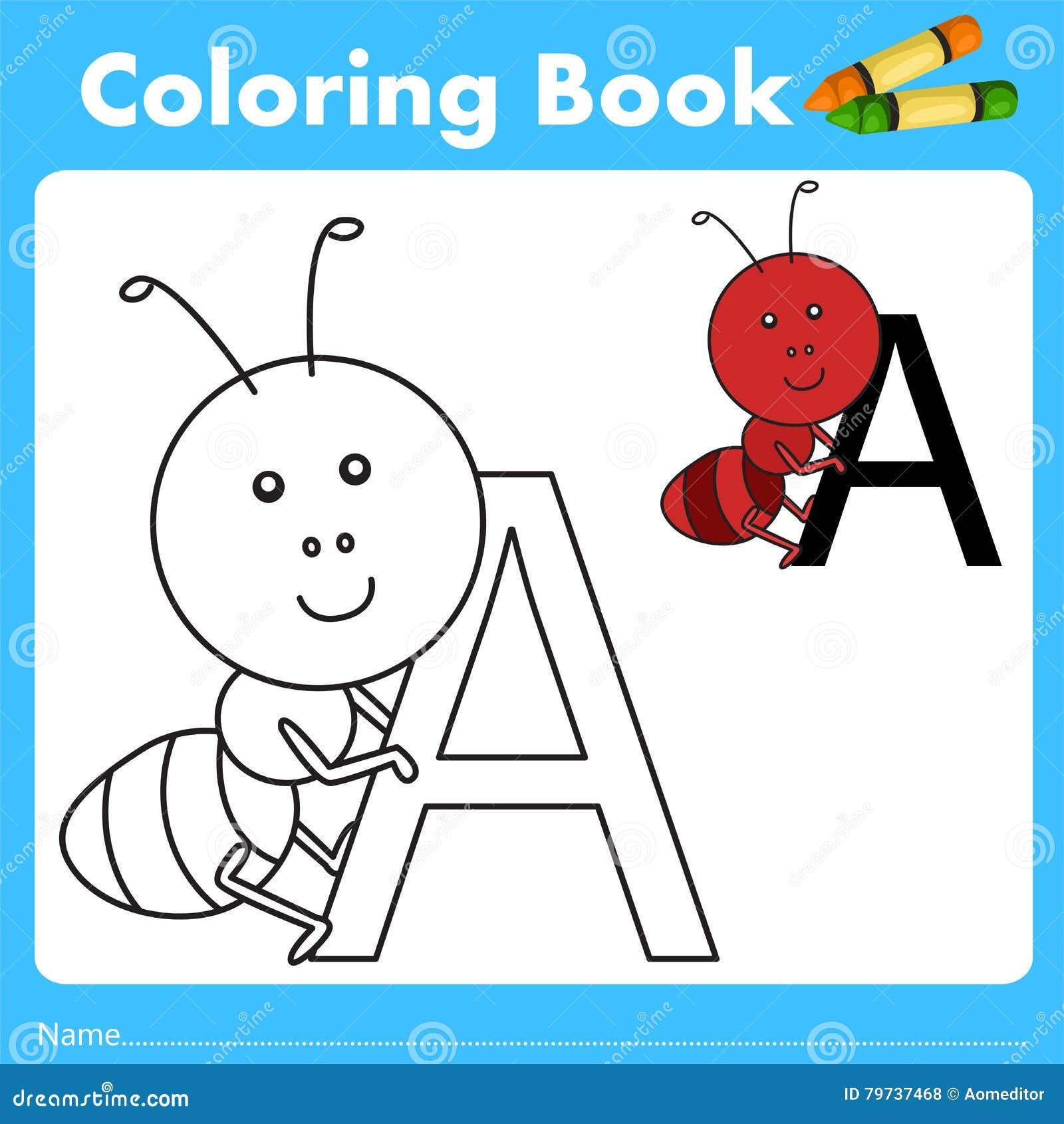 Illustrator del libro del color con el animal de la hormiga