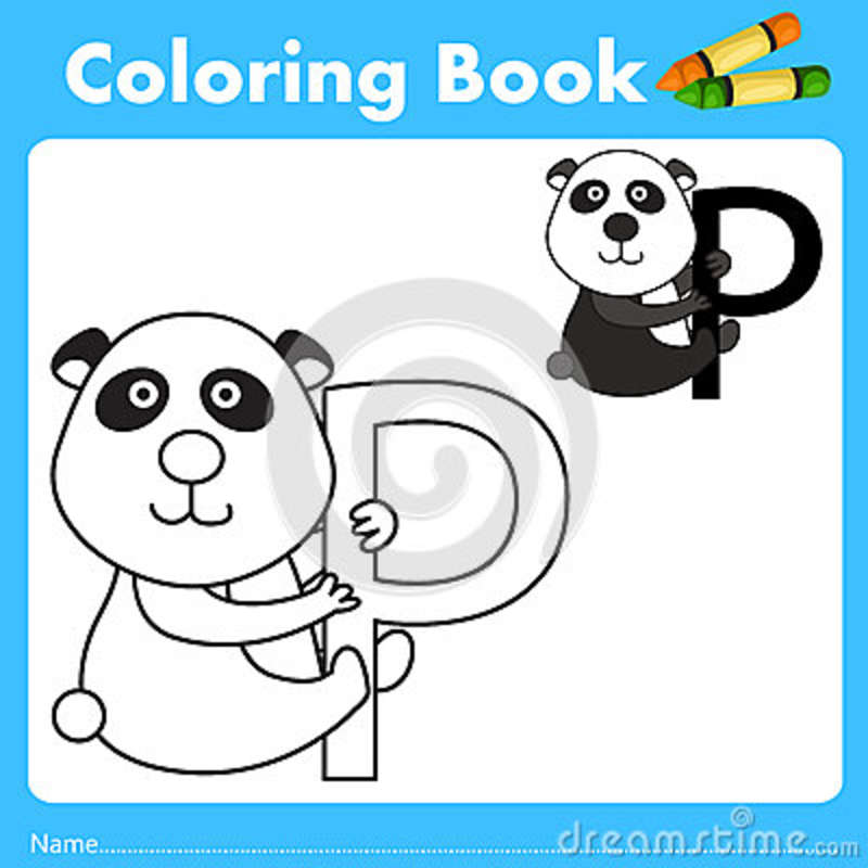 Illustrator del libro del color con el animal de la panda