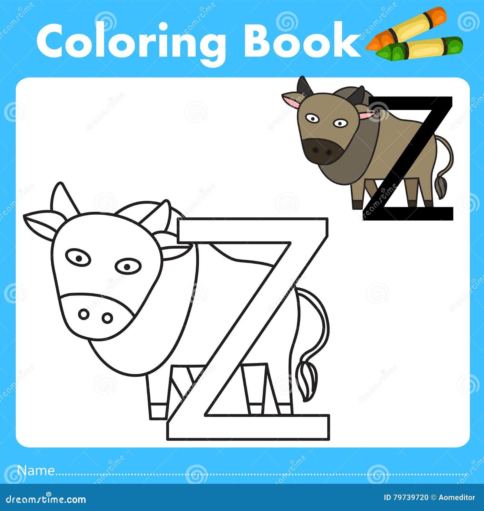 Illustrator del libro del color con el animal del cebú