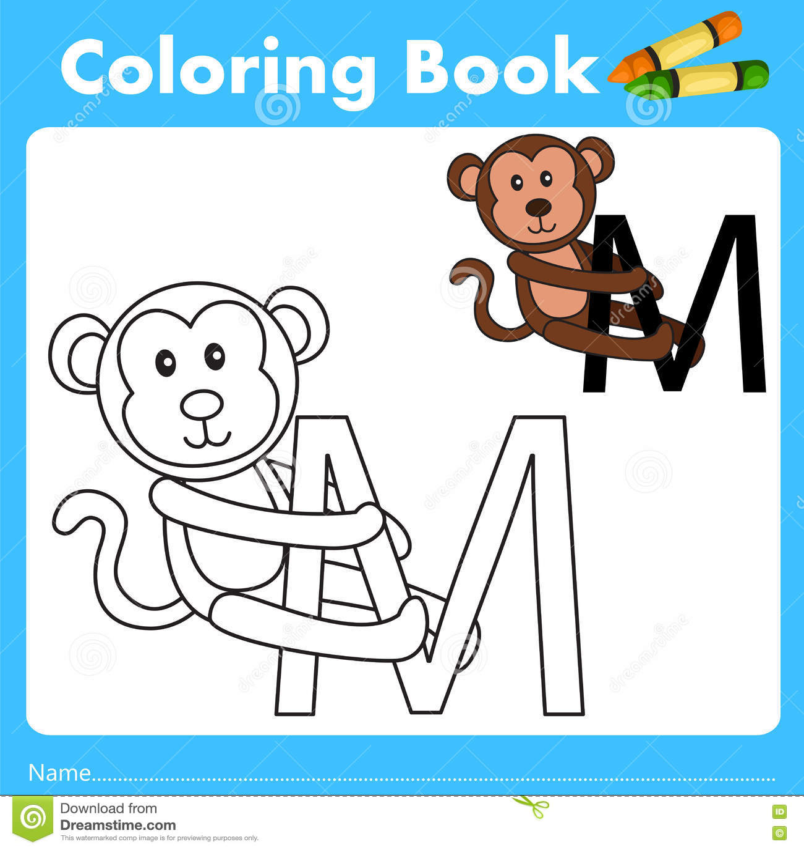 Illustrator del libro del color con el animal del mono