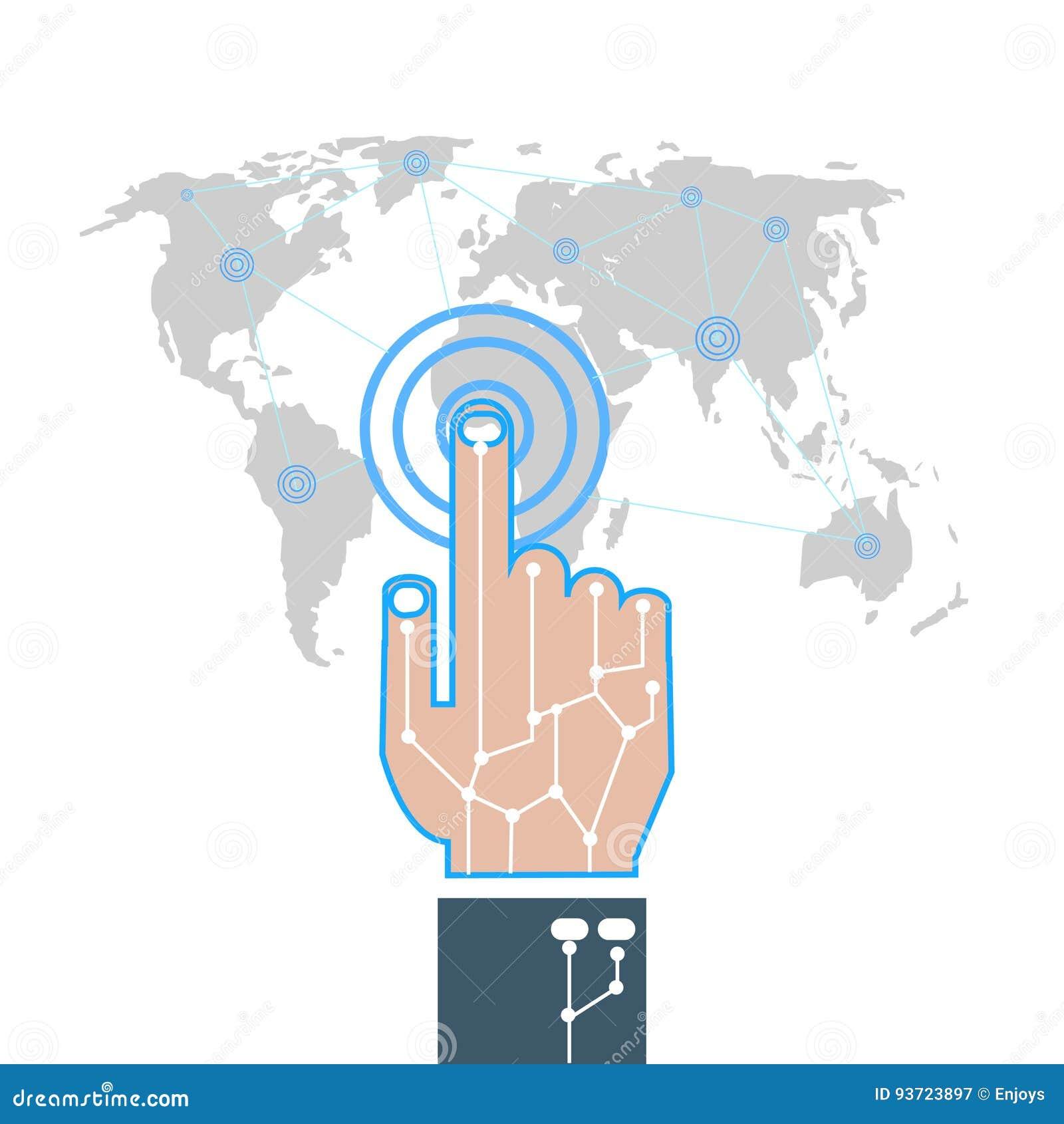 Illustrator-hand Touch Gesture On Futuristic Technology