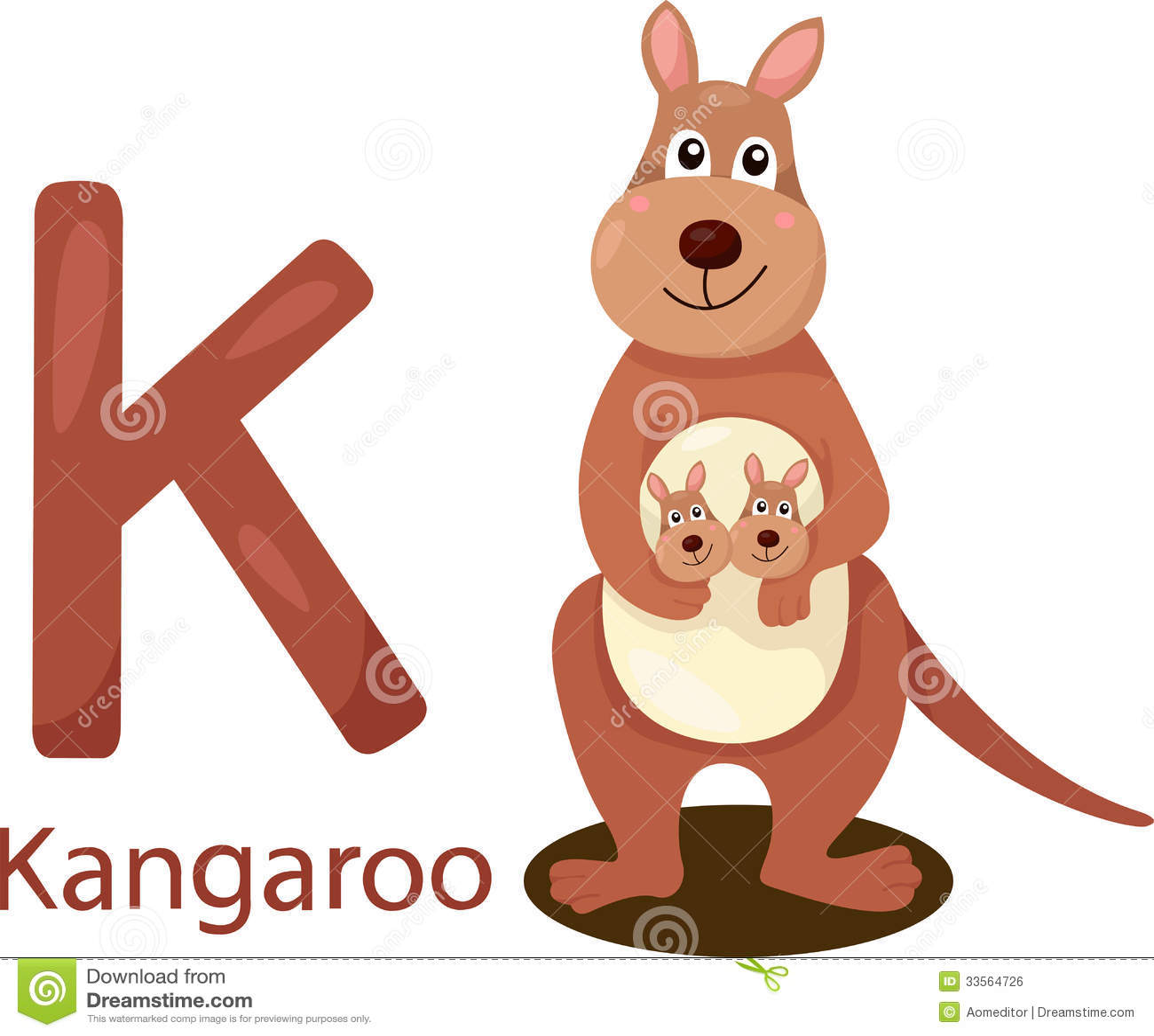 Illustrator Of K With Kangaroo Royalty Free Stock Image