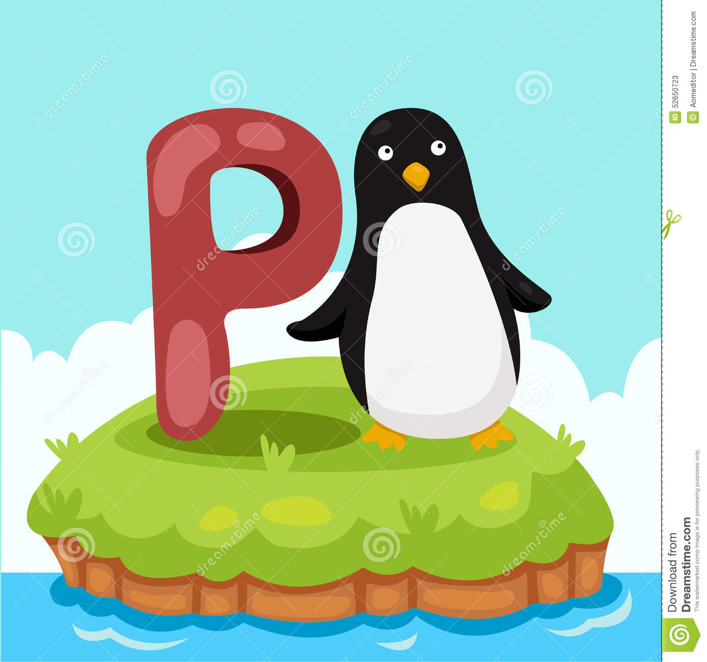 3 Letter Cartoon Characters : Illustrator of letter p is for penquin stock vector