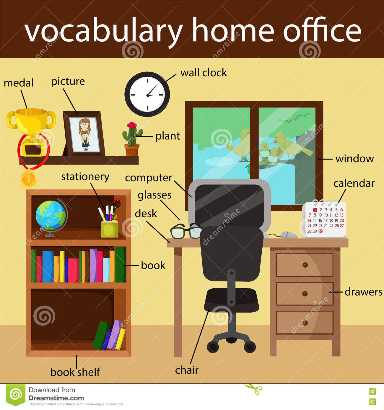 Illustrator Of Vocabulary Home Office Stock Vector