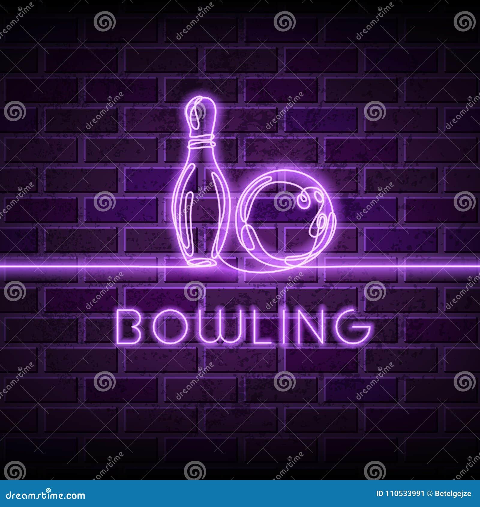 Illustrazione al neon di vettore di bowling Disegno a tratteggio continuo d ardore di palla da bowling, perno sul fondo porpora d