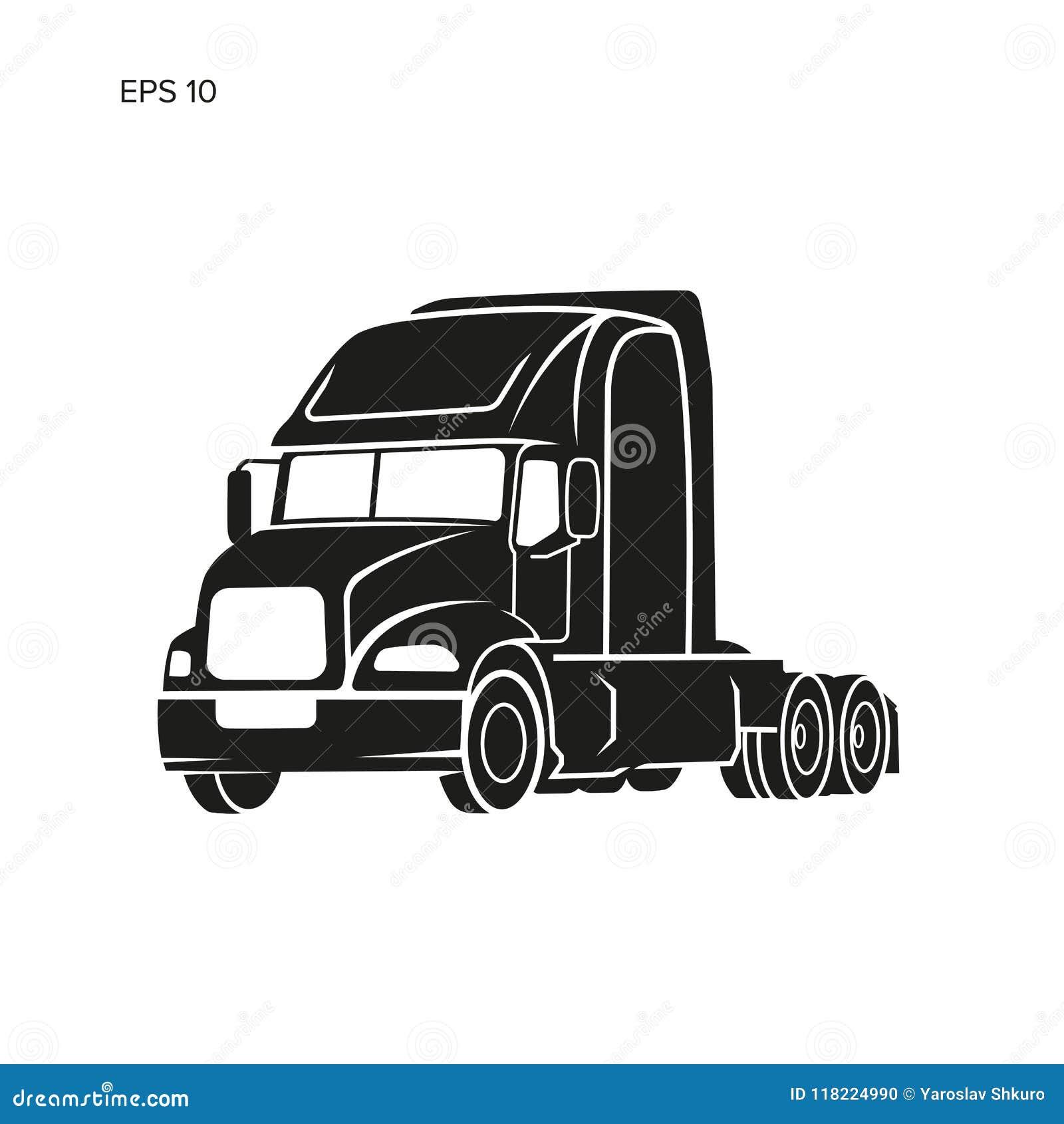 Illustrazione americana moderna di vettore del camion Immagine pesante di trasporto