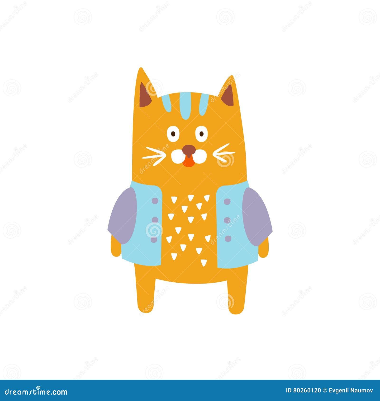 Illustrazione animale stante rossa del carattere umanizzata montante di Cat Wearing Jacket In Autumn nello stile decorativo funky