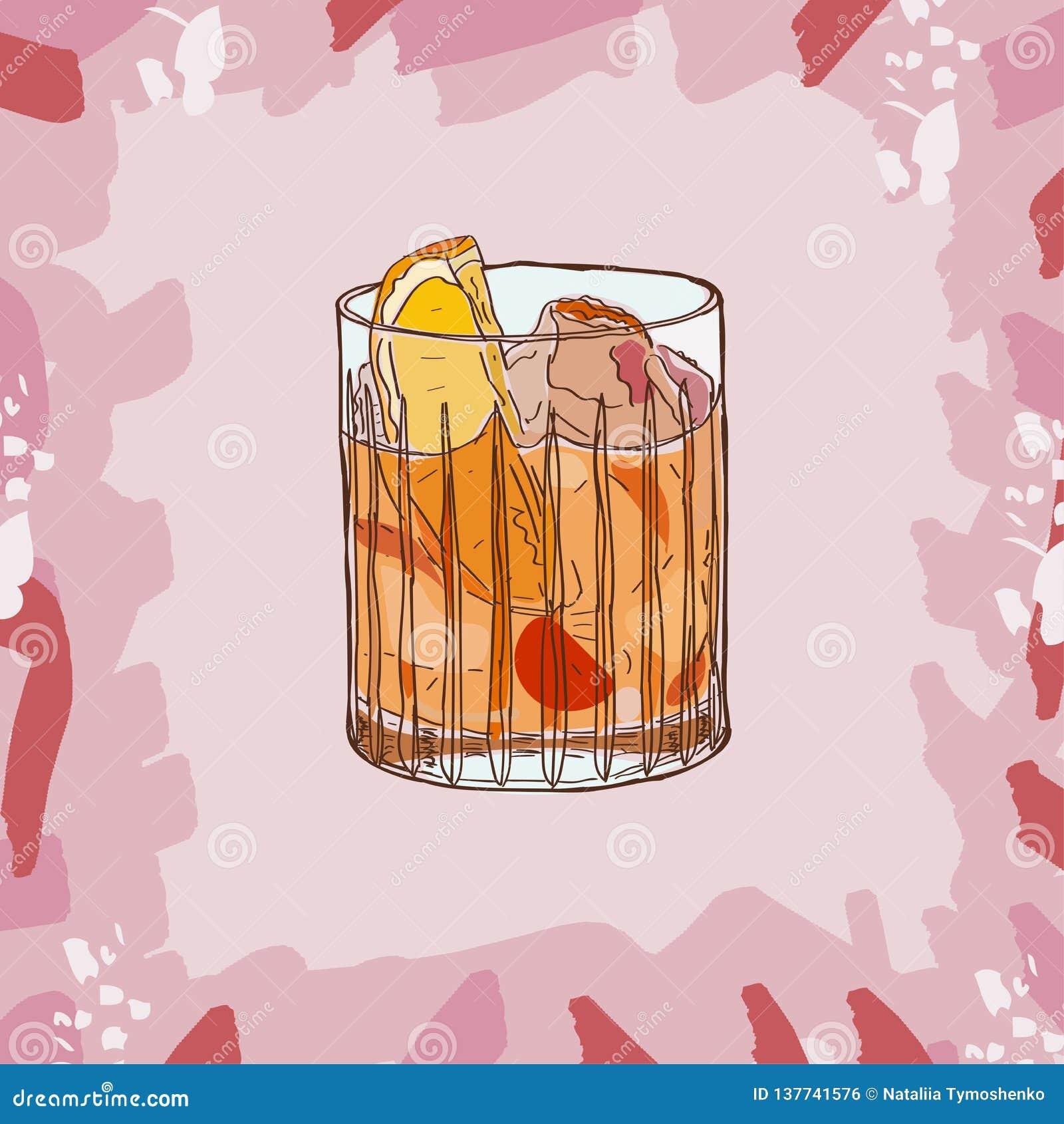 Illustrazione antiquata del cocktail Vettore disegnato a mano della bevanda alcolica della barra Pop art