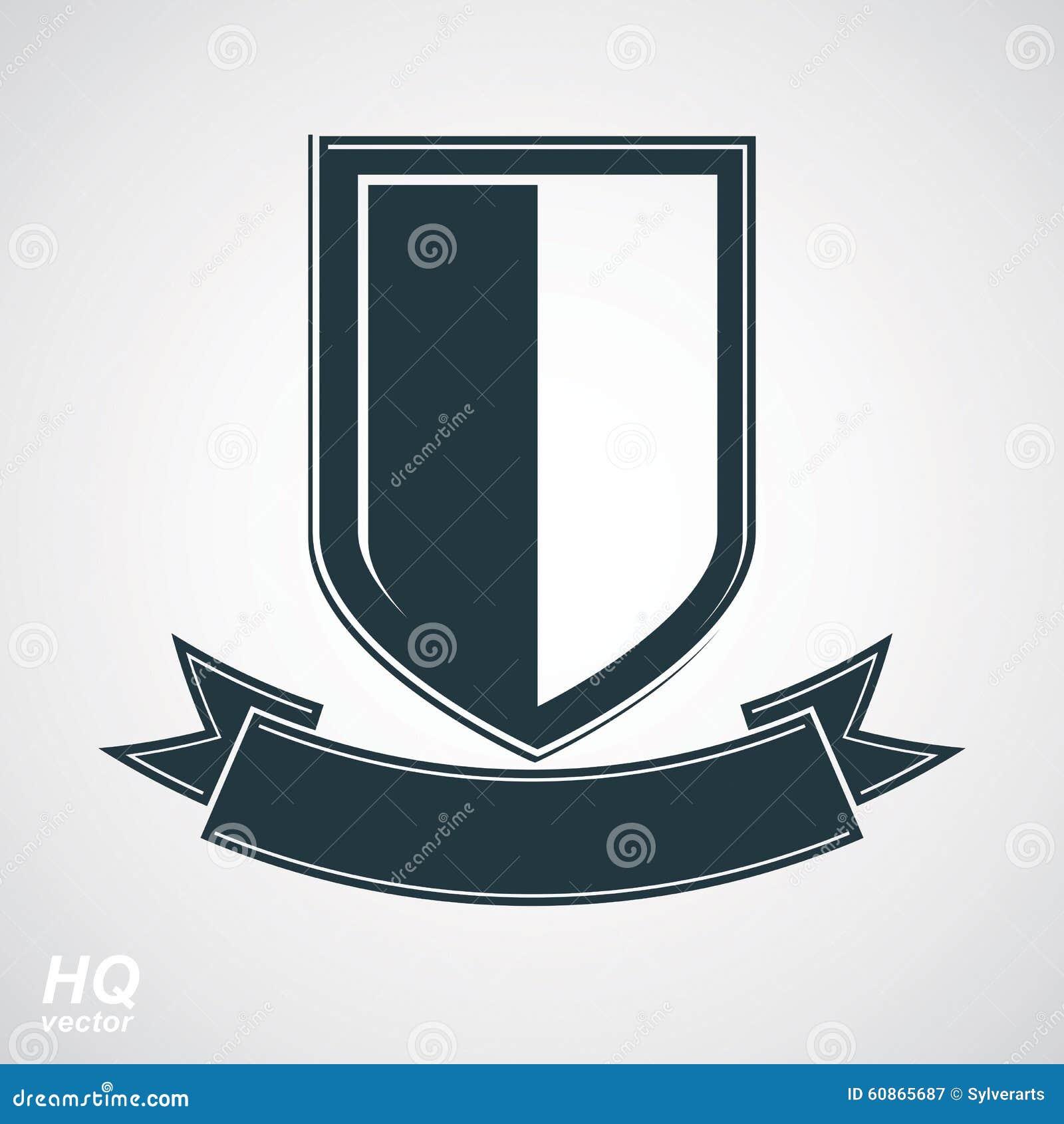 Illustrazione araldica di blasone, stemma decorativa Schermo grigio della difesa di vettore