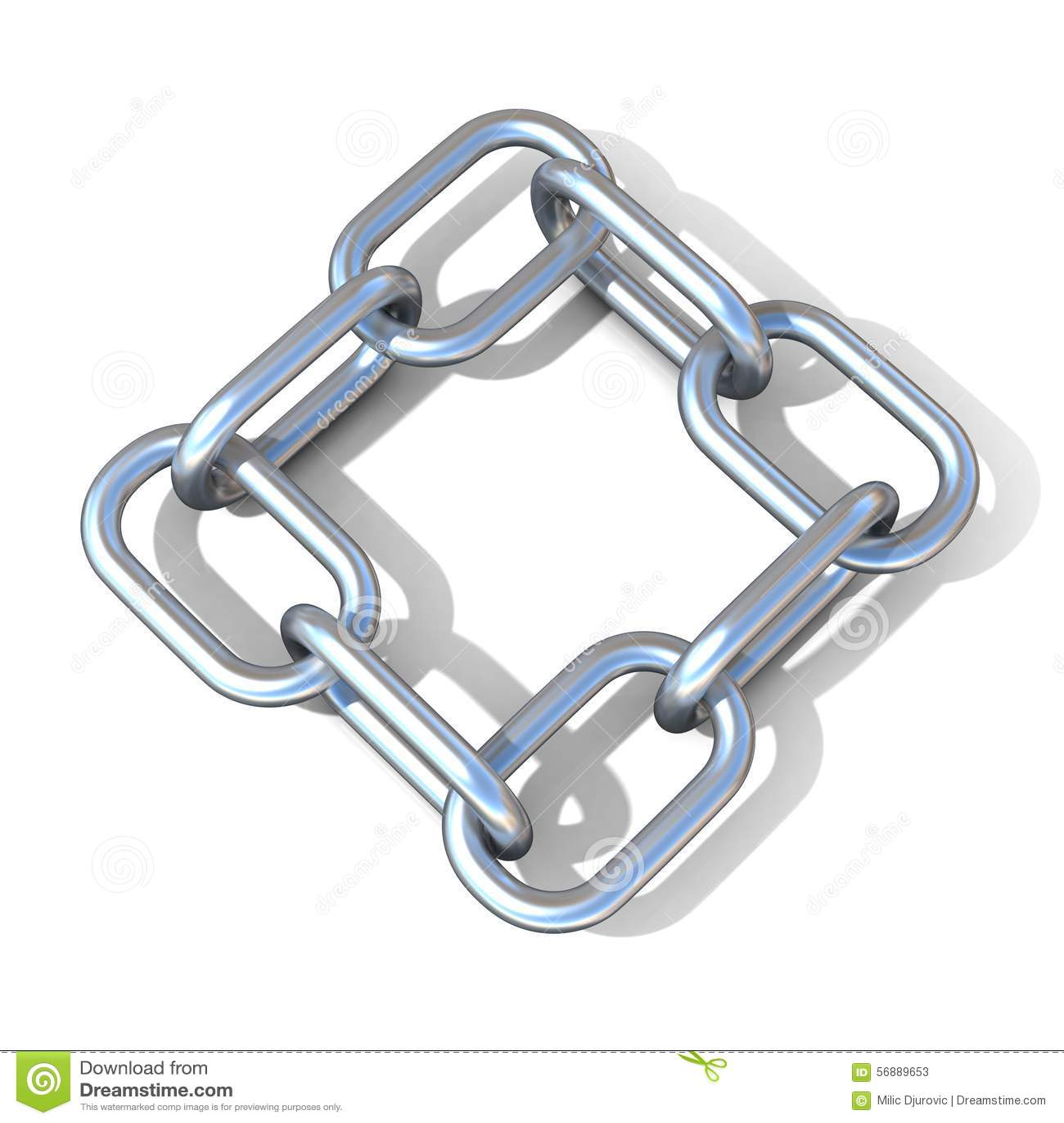 Illustrazione astratta 3D di un collegamento a catena d acciaio Vista superiore