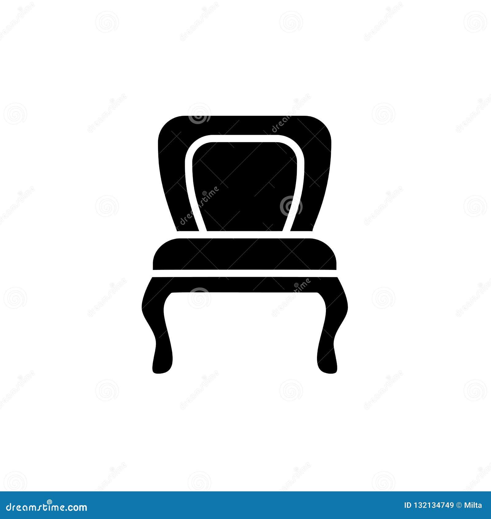 Illustrazione bianca e nera di vettore di pranzare sedia Icona piana di