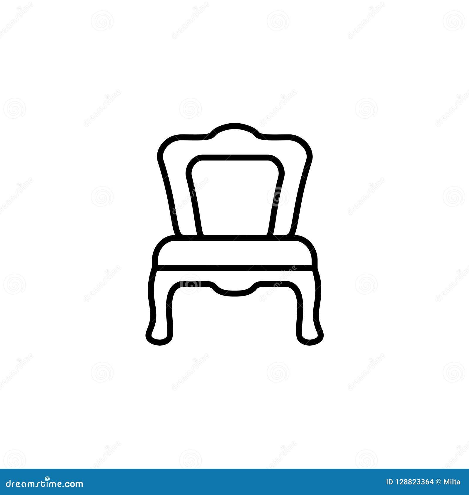 Illustrazione bianca e nera di vettore di pranzare sedia Linea icona di