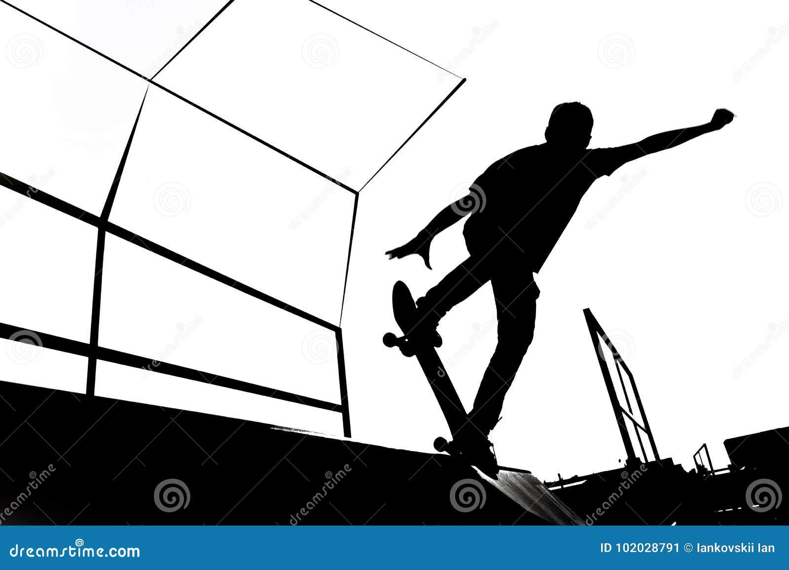 Illustrazione in bianco e nero della siluetta del pattinatore sulla rampa