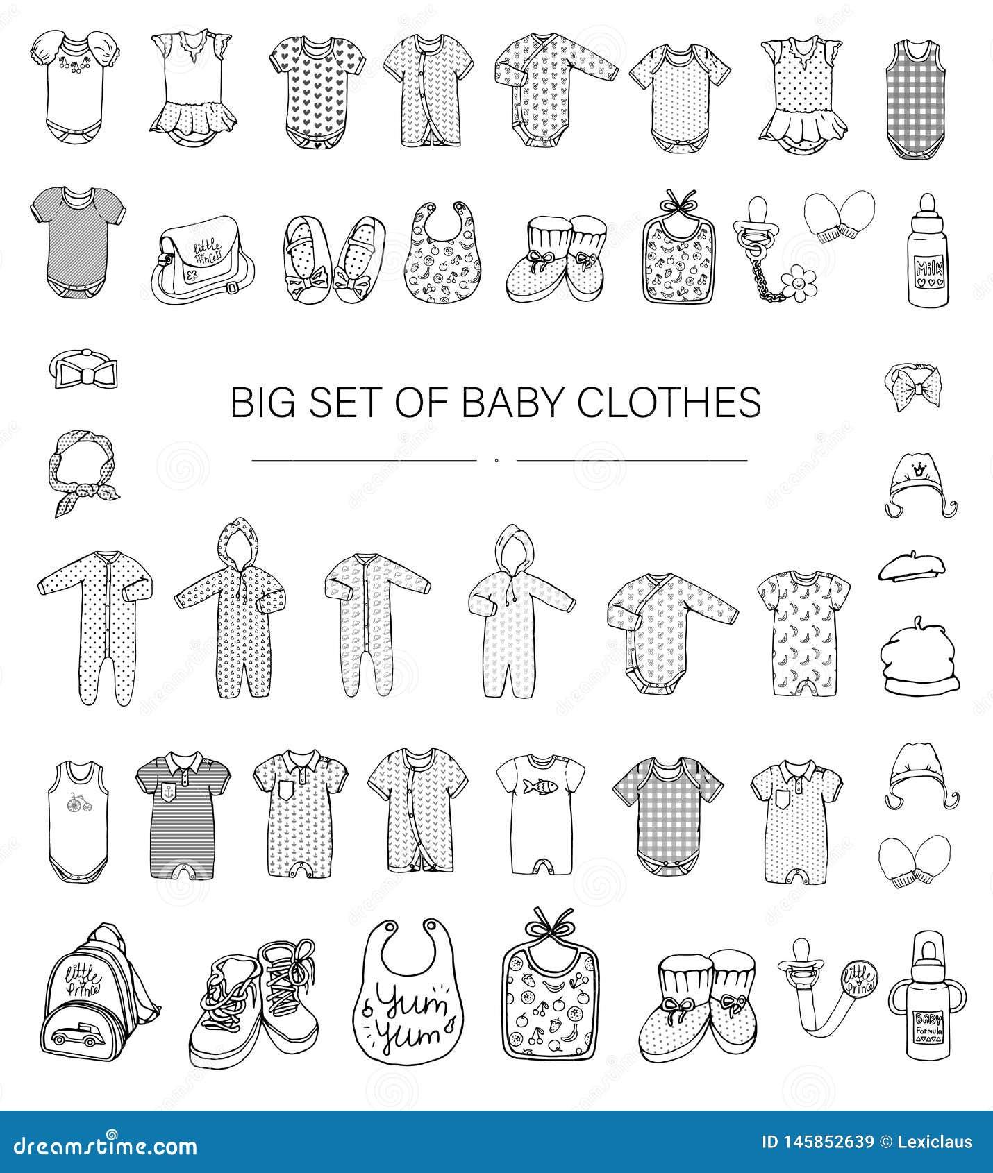 Illustrazione in bianco e nero di vettore dei vestiti del bambino