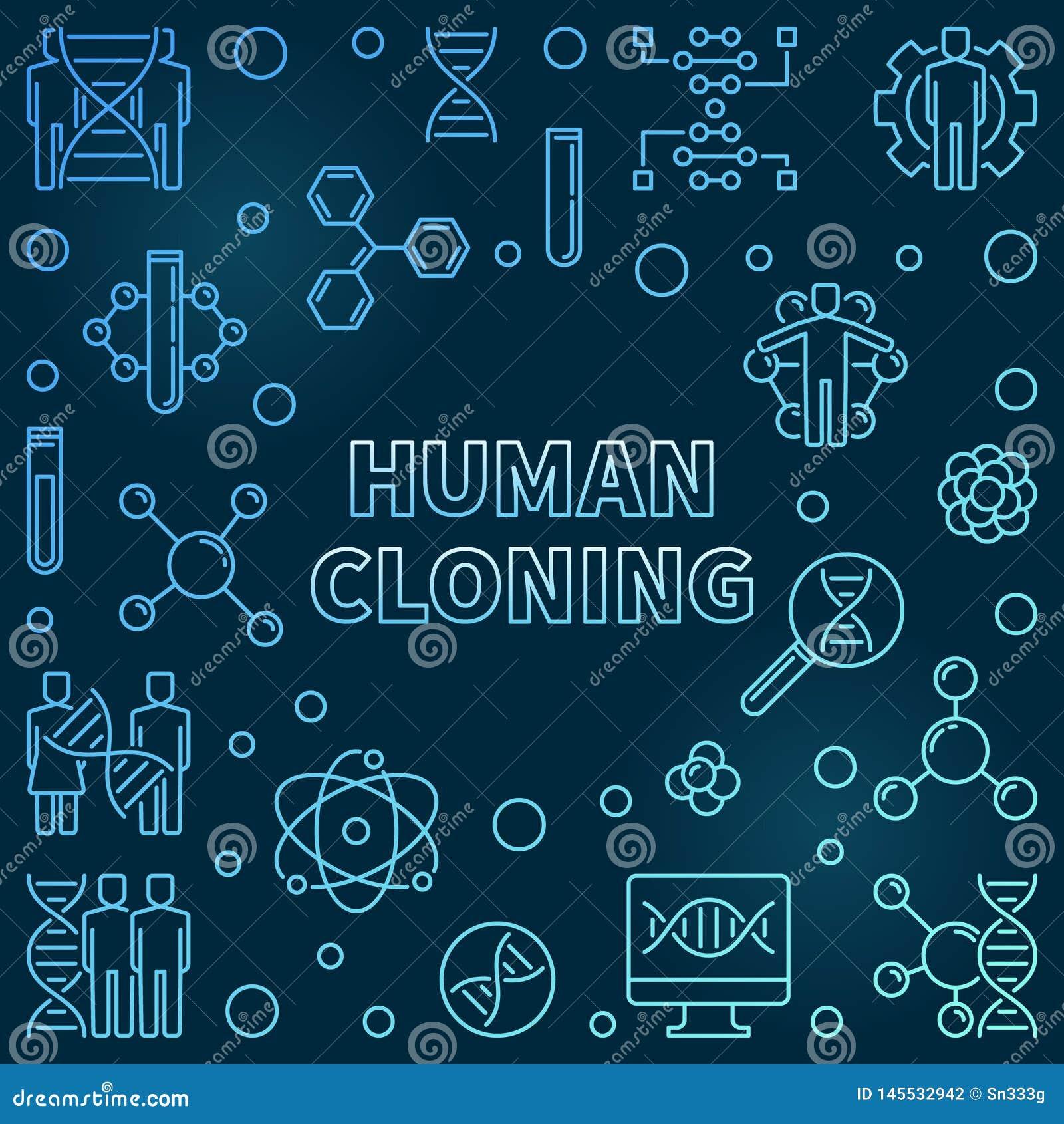 Illustrazione blu di concetto del profilo della clonazione umana di vettore