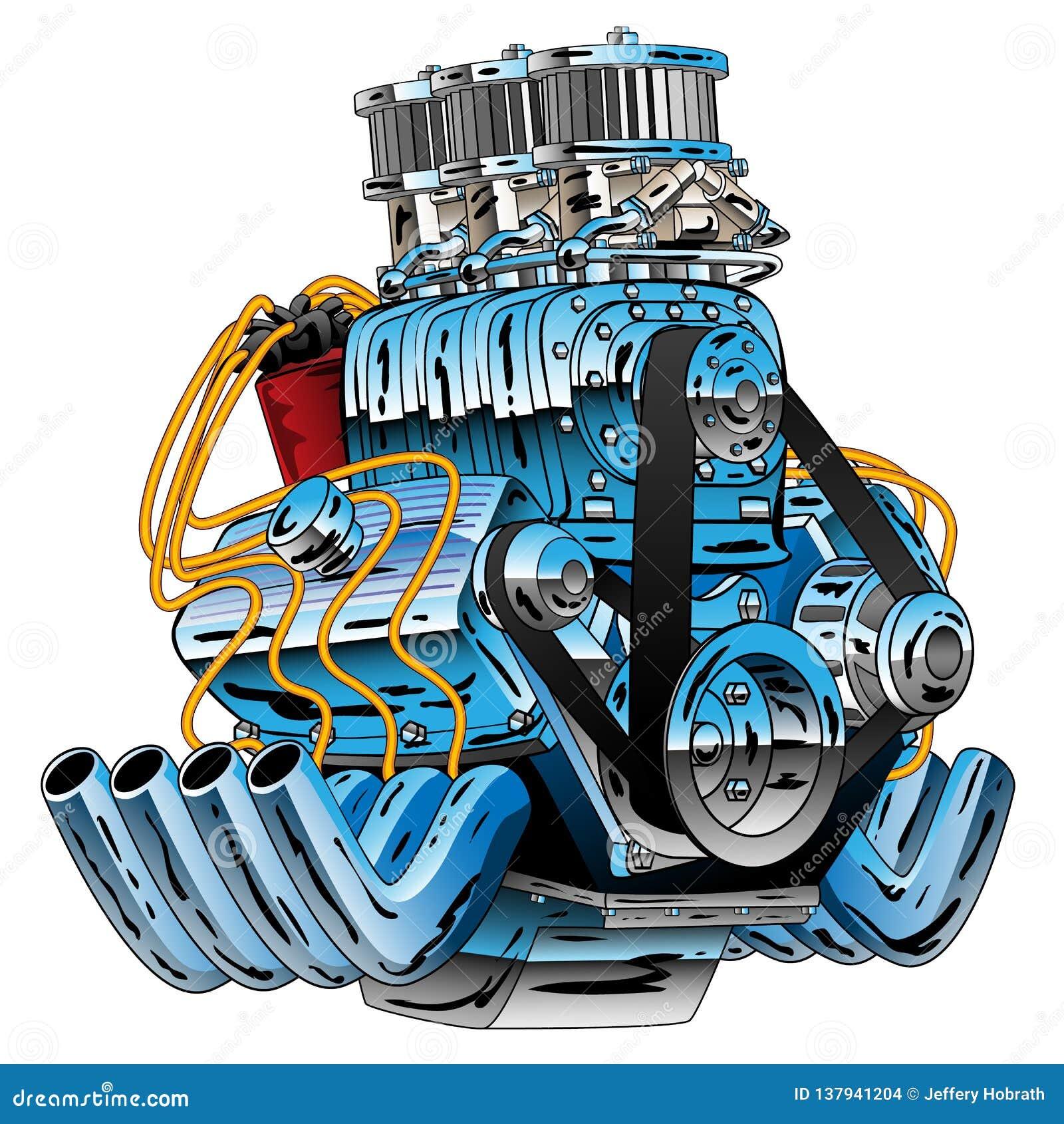 Illustrazione calda di vettore del fumetto di Rod Race Car Dragster Engine