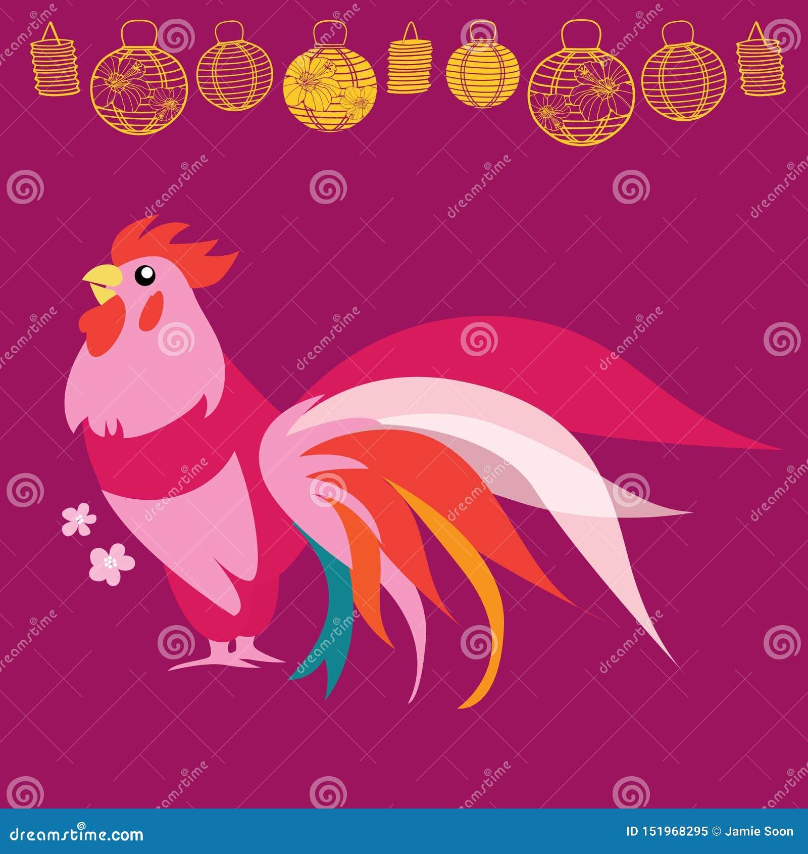 Illustrazione cinese del gallo di rosa del nuovo anno di vettore con le lanterne