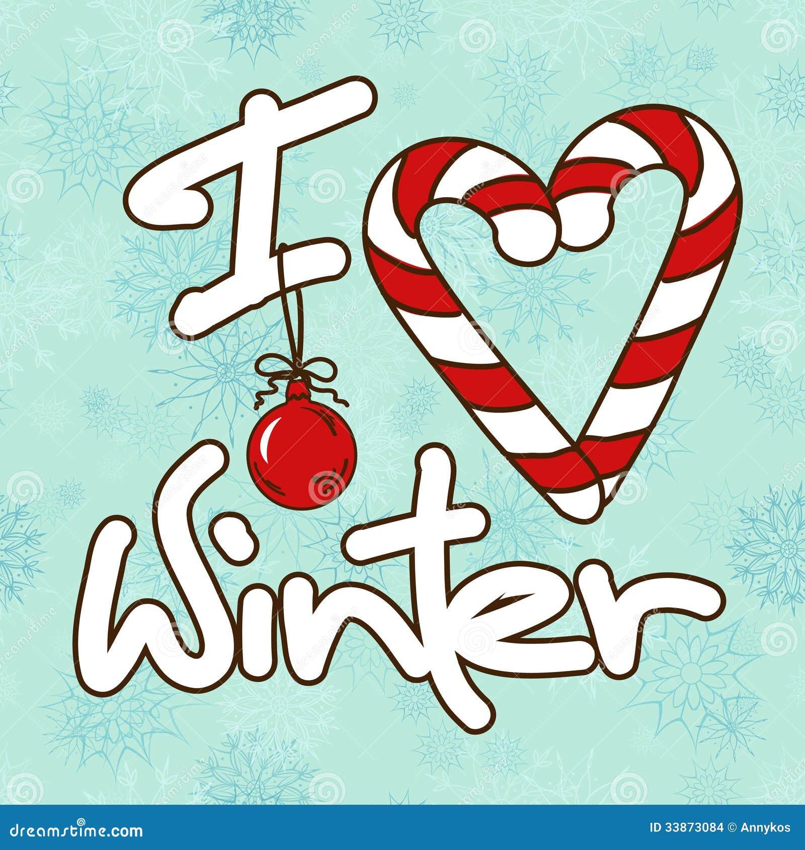 Illustrazione con l 39 inverno stilizzato di amore del testo - Animali in inverno clipart ...