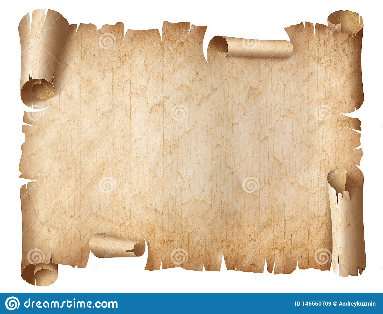 Illustrazione consumata antica della pergamena isolata su bianco