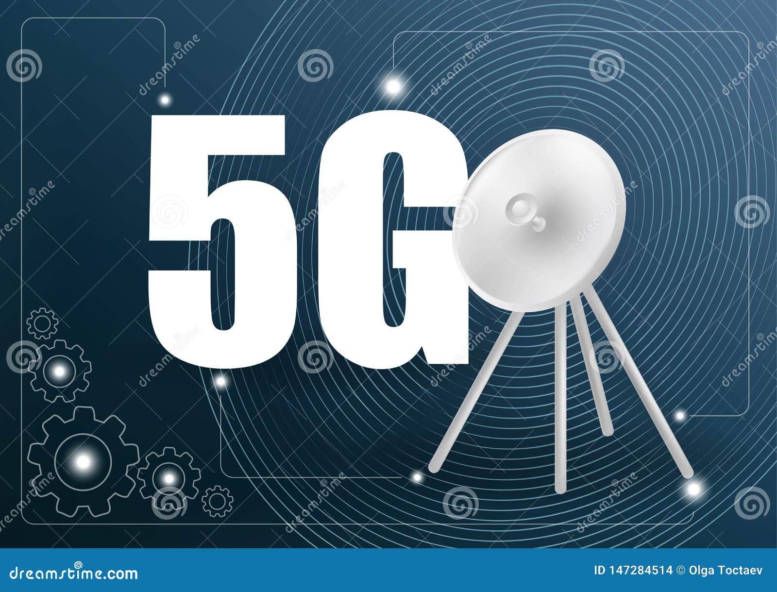 Illustrazione creativa di vettore di tecnologia di trasmissione del segnale 5G, nuovo fondo senza fili del collegamento di wifi d