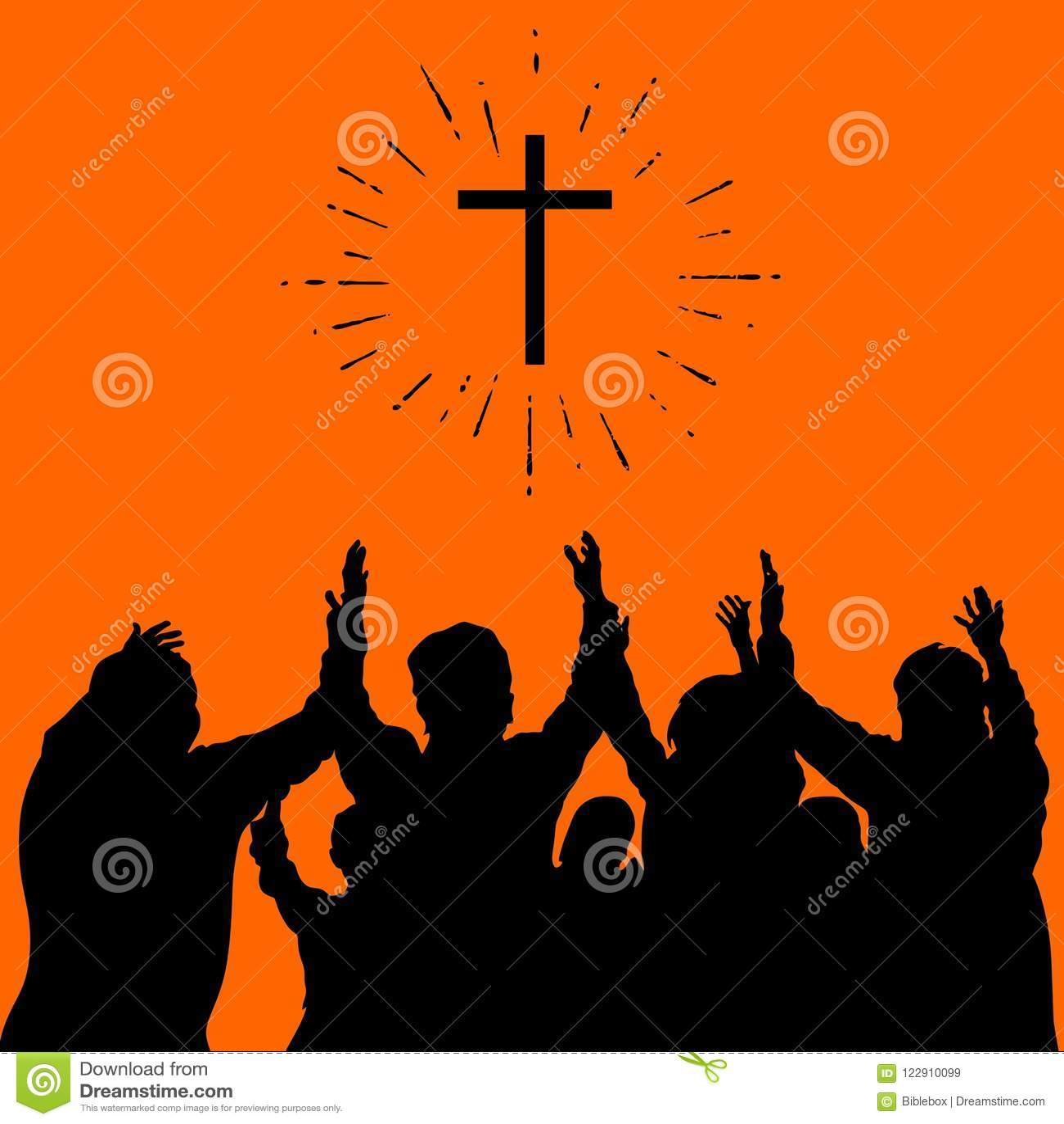 Illustrazione cristiana Culto del gruppo, mani sollevate, elogio