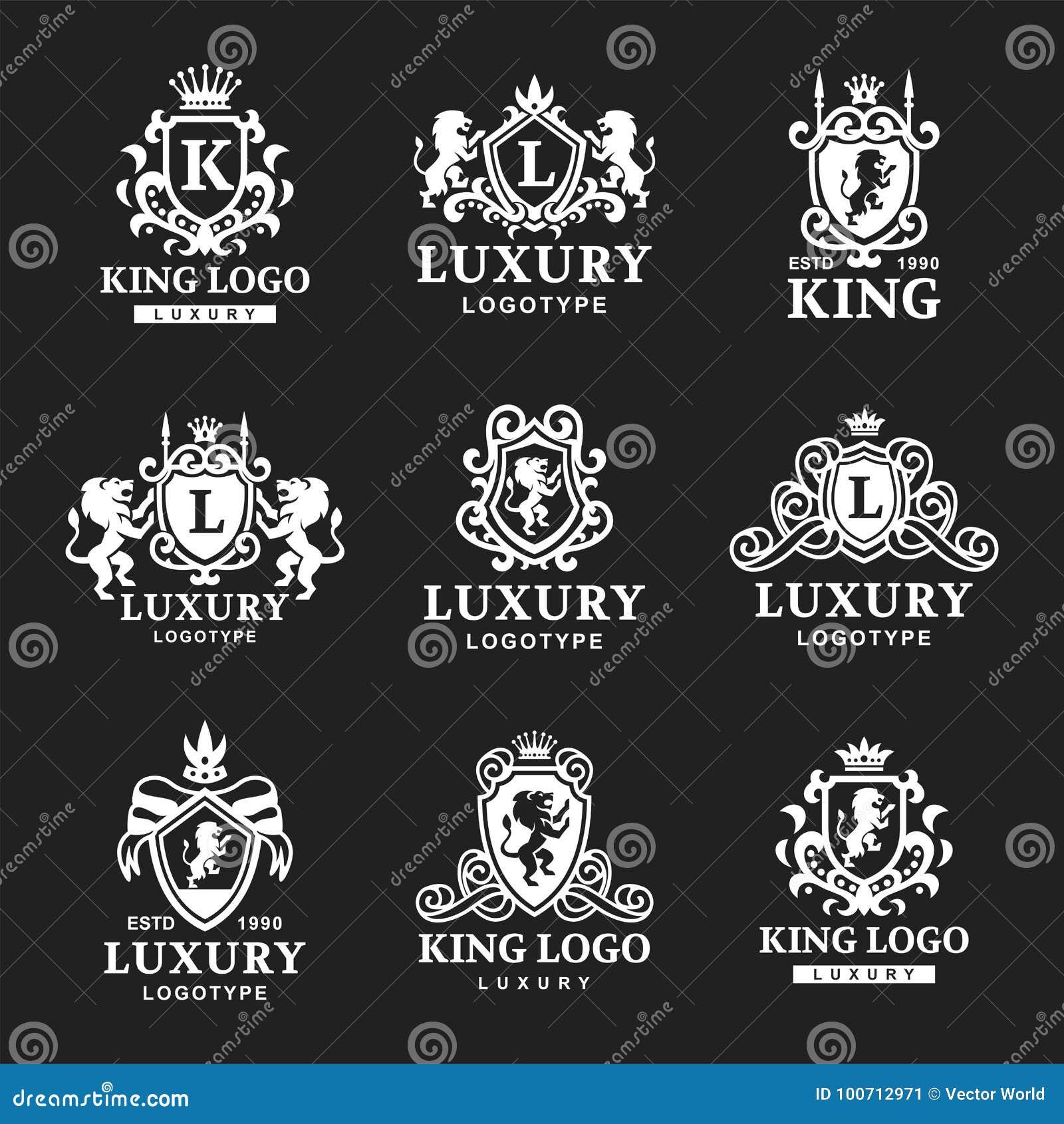 Illustrazione d annata di vettore di identità di marca della raccolta di logo dell araldica del prodotto del boutique di alta qua
