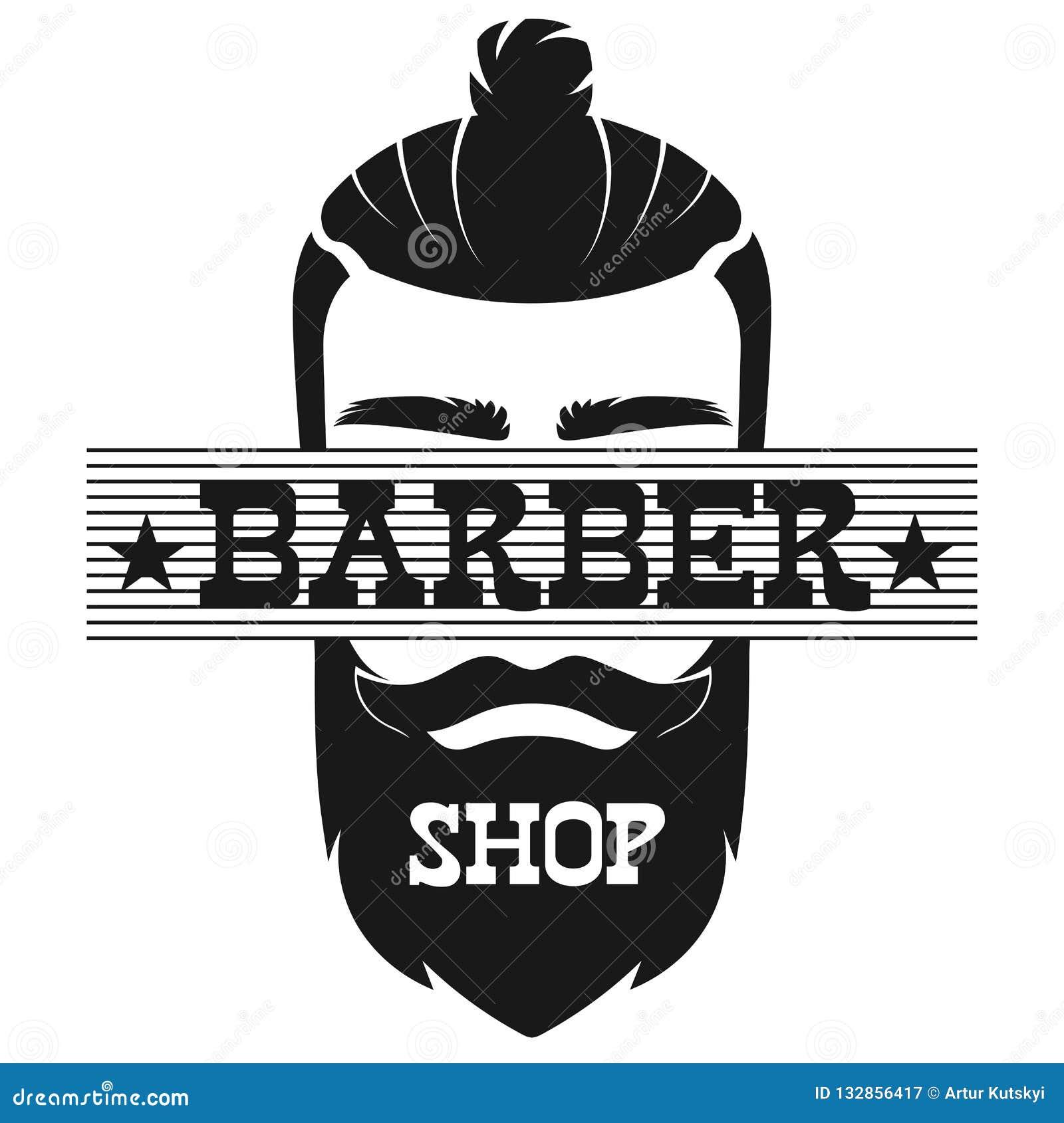 Illustrazione d annata di vettore di logo dell etichetta del fronte barbuto dell uomo di Barber Shop retro