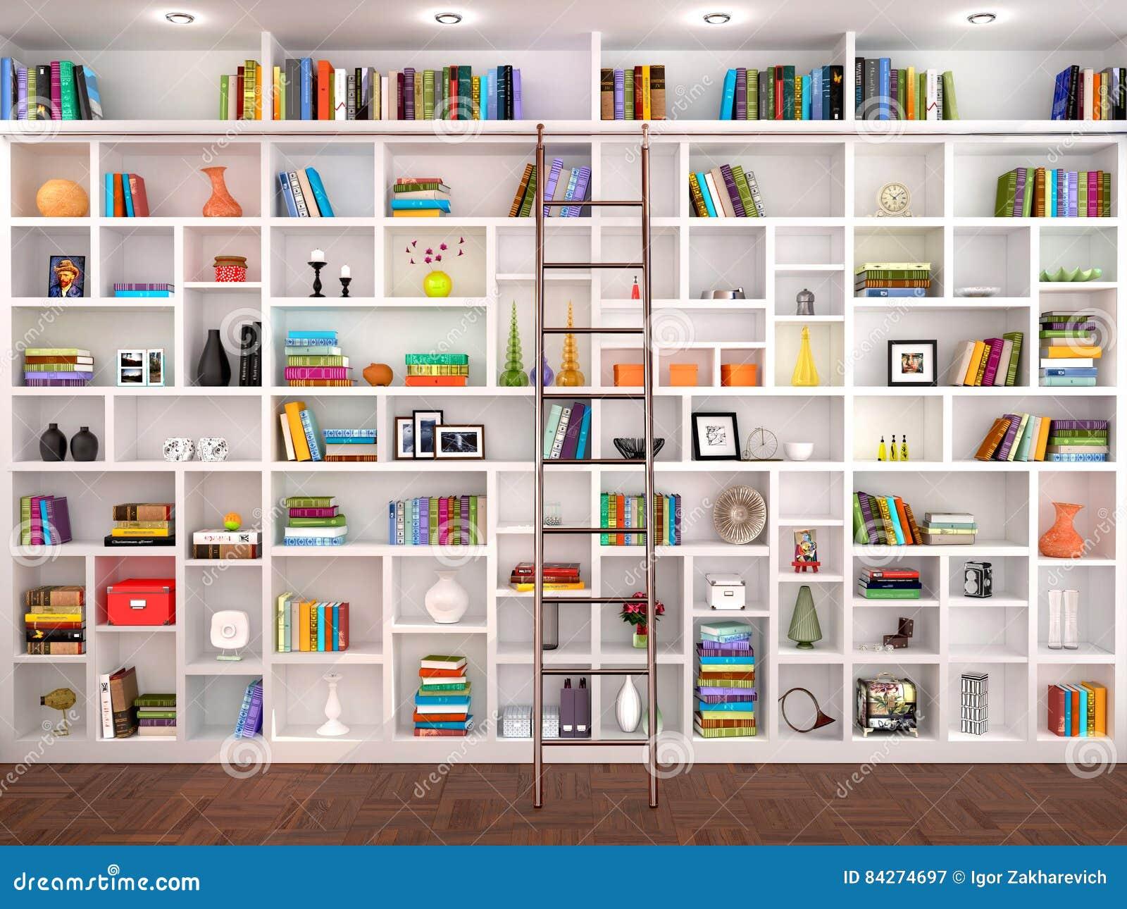 Scaffali Libreria Bianchi.Illustrazione 3d Degli Scaffali Bianchi Nell Interno