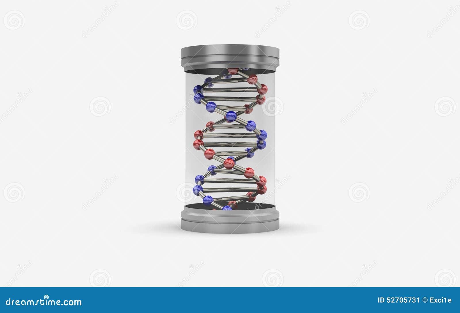 Illustrazione 3d della capsula con DNA
