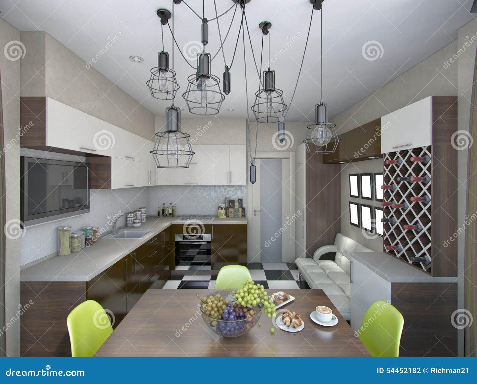 Illustrazione 3d Della Cucina Moderna Nei Toni Marroni E Beige ...