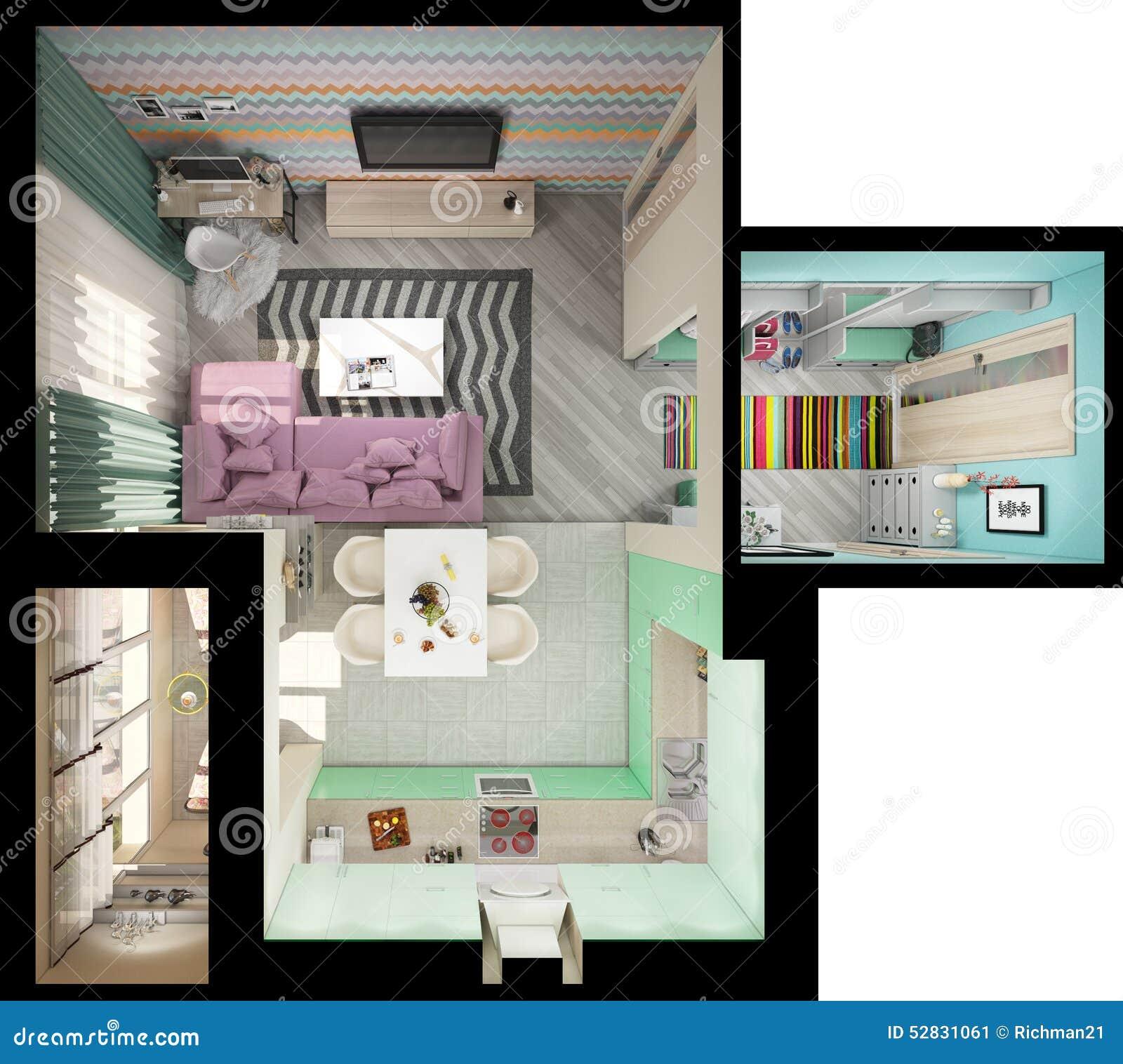 Illustrazione 3d di piccoli appartamenti nei colori for Piccoli appartamenti