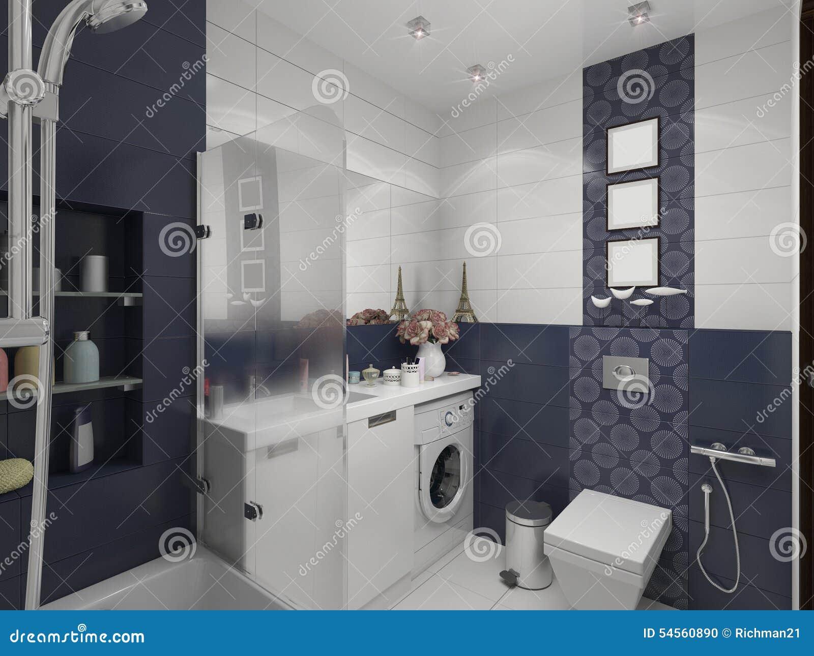 Illustrazione d di progettazione di un bagno nel colore blu