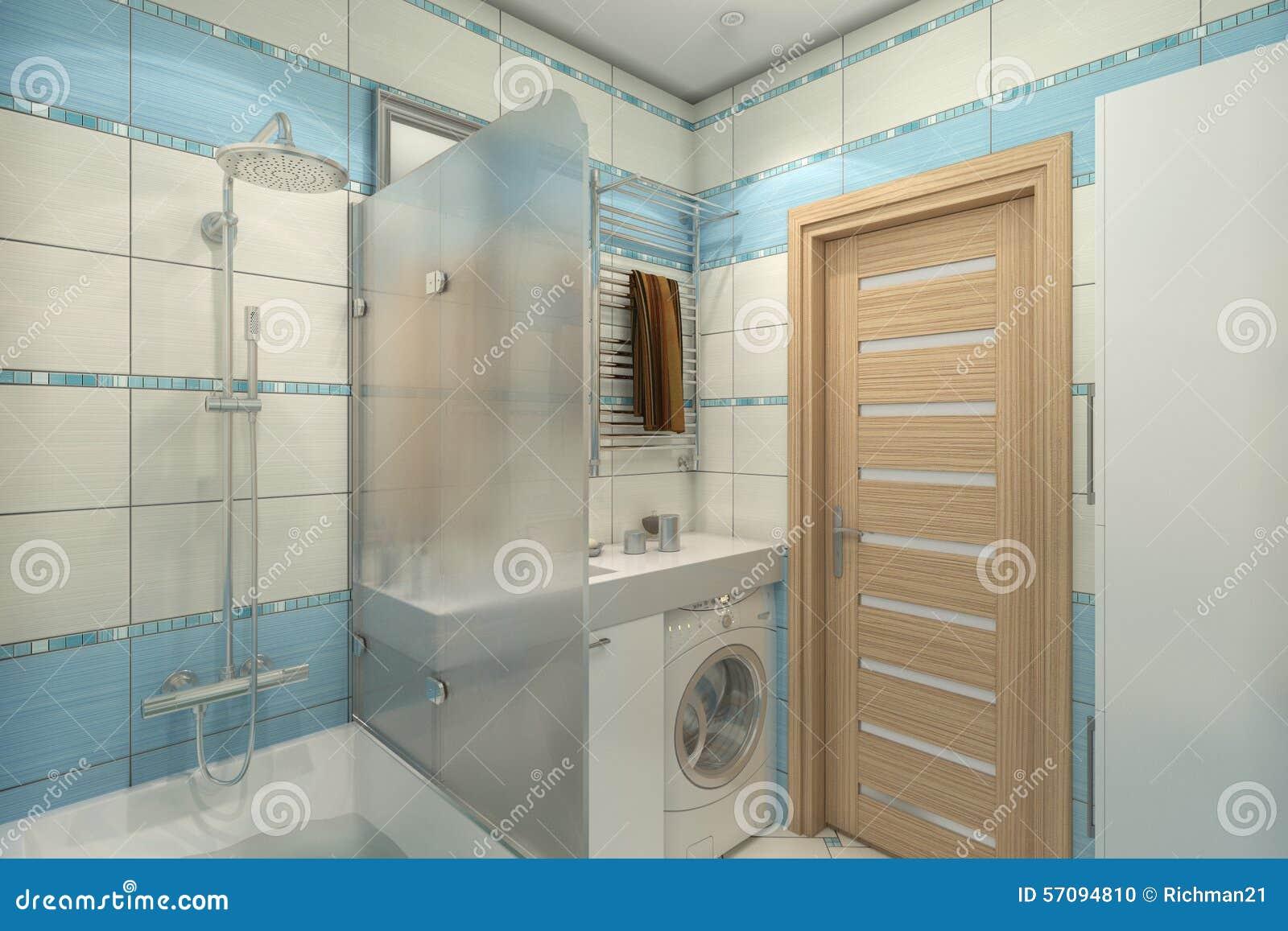 Illustrazione 3d di progettazione di un bagno nel colore blu