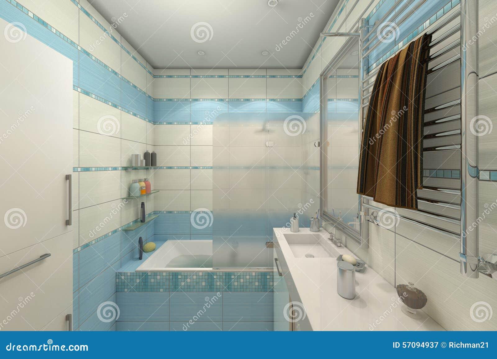 Illustrazione 3d di progettazione di un bagno nel colore blu illustrazione di stock immagine - Spiata nel bagno ...