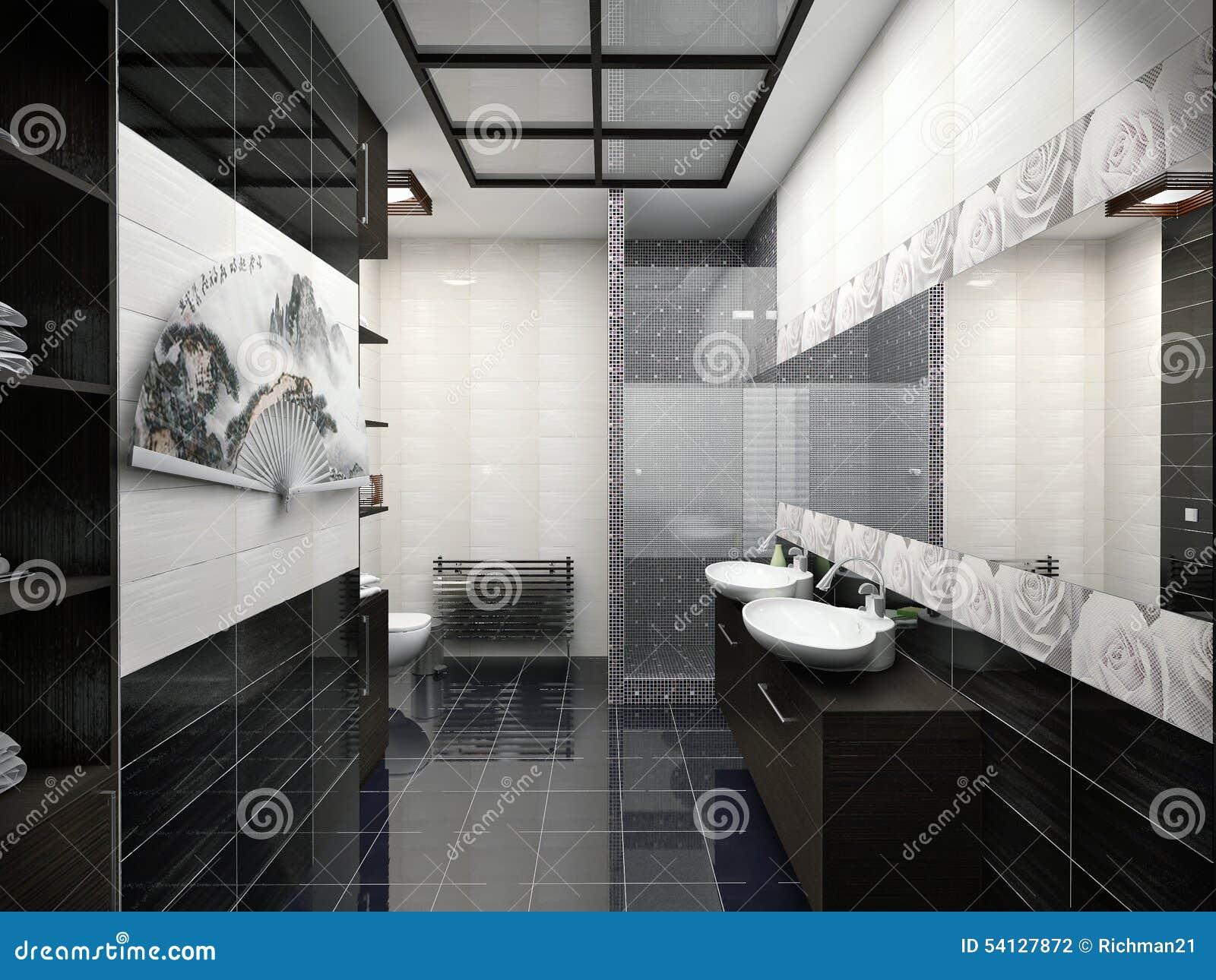 Illustrazione 3d di progettazione di un colore del bagno in bianco e nero illustrazione di stock - Bagno bianco nero ...