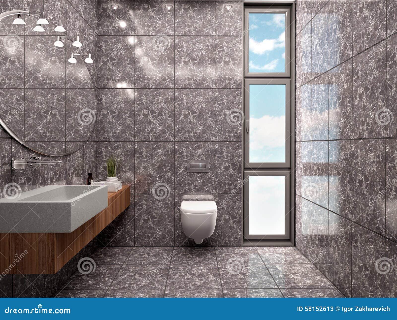 Bagno Stile Minimalista : Illustrazione d di stile minimalista interno del bagno moderno