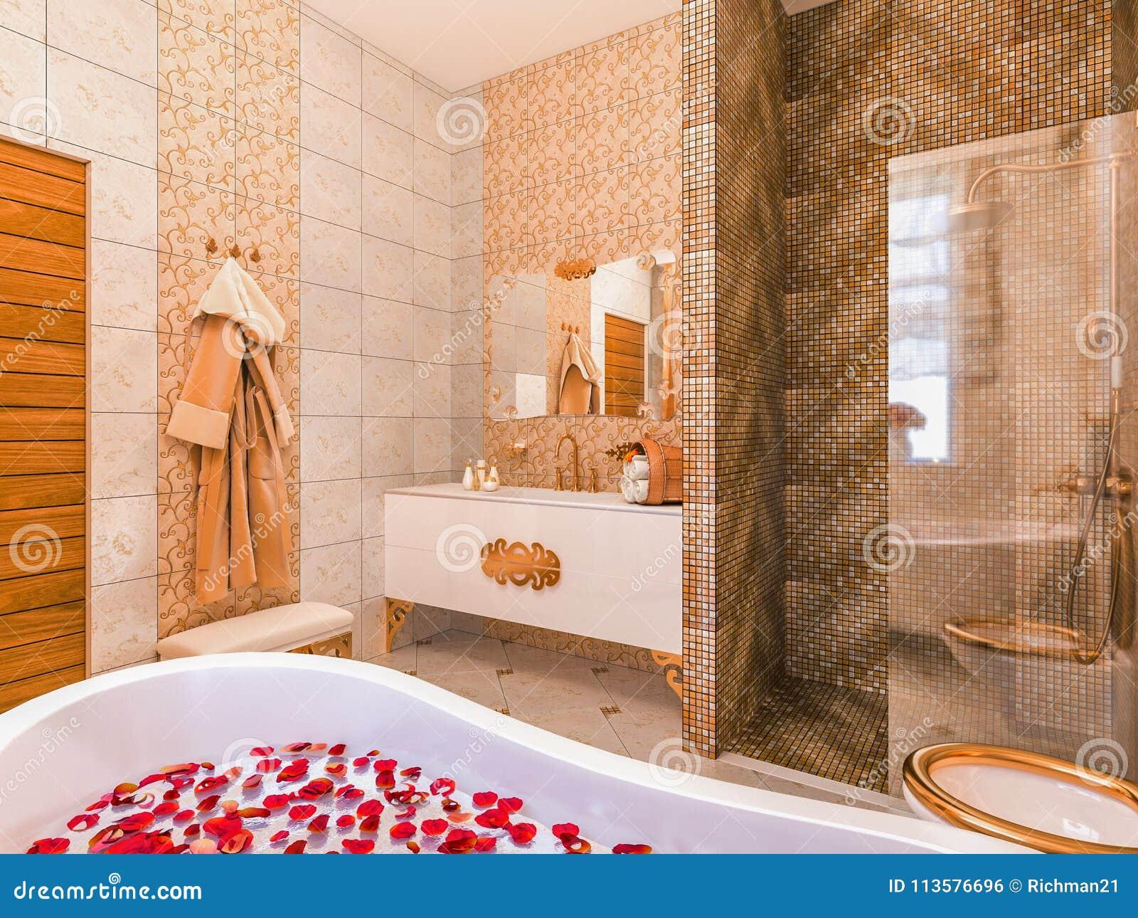 Design Bagno Classico : Illustrazione 3d di un interior design di un bagno in un classico