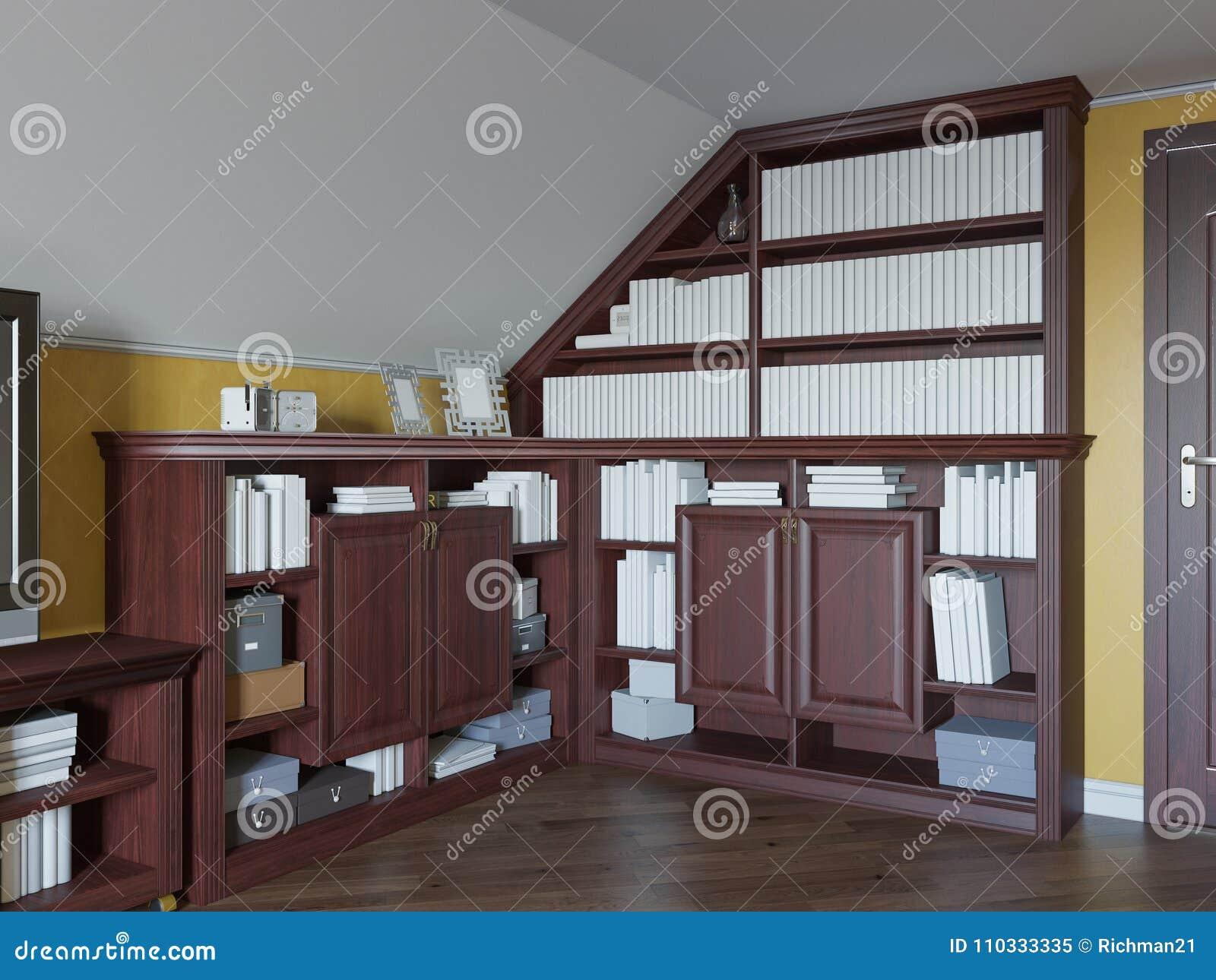 Illustrazione 3d di una biblioteca domestica sul pavimento della soffitta di una casa privata