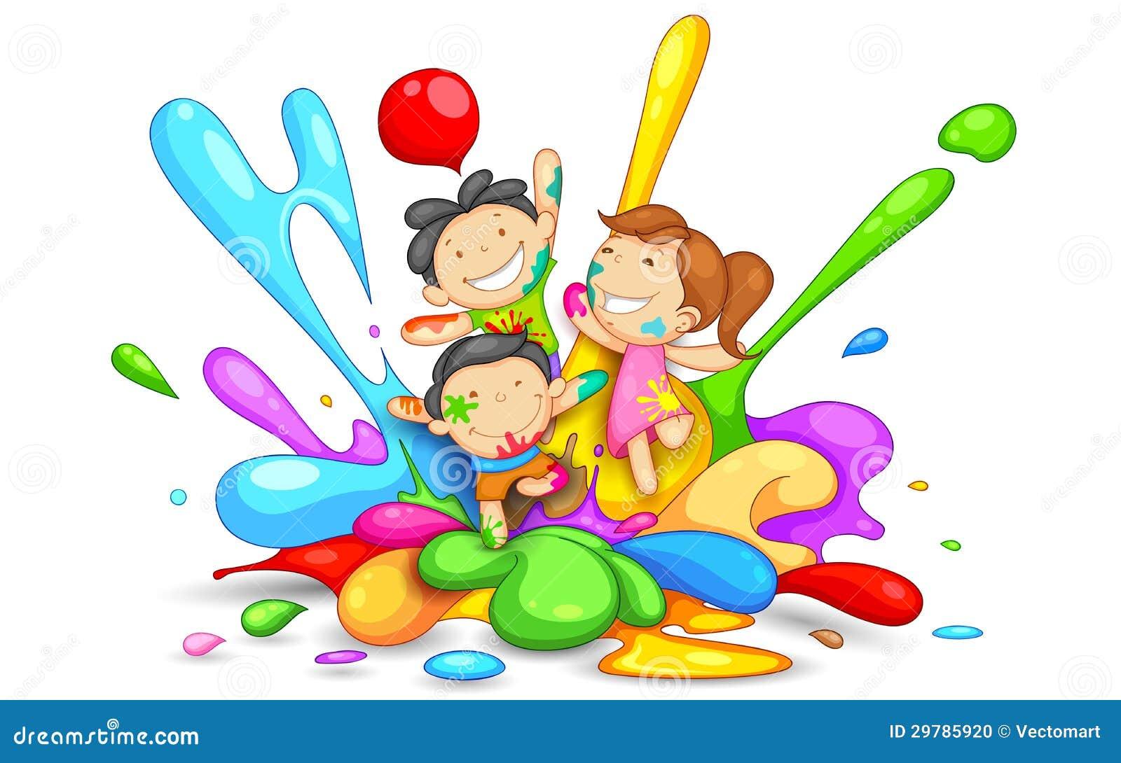 Bambini Che Giocano Holi Illustrazione Vettoriale Illustrazione Di