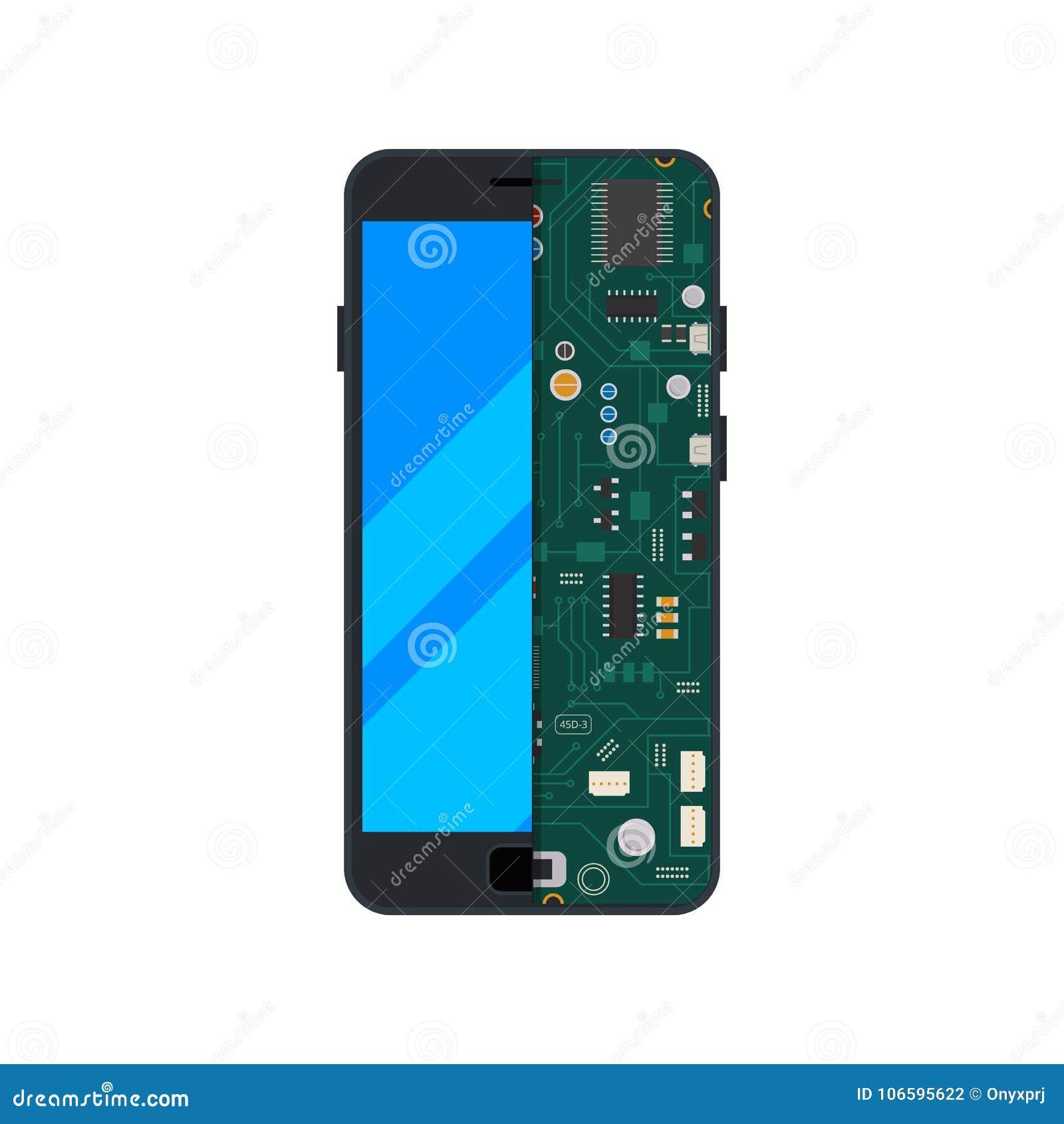 Illustrazione del circuito elettronico del telefono cellulare o dello smartphone