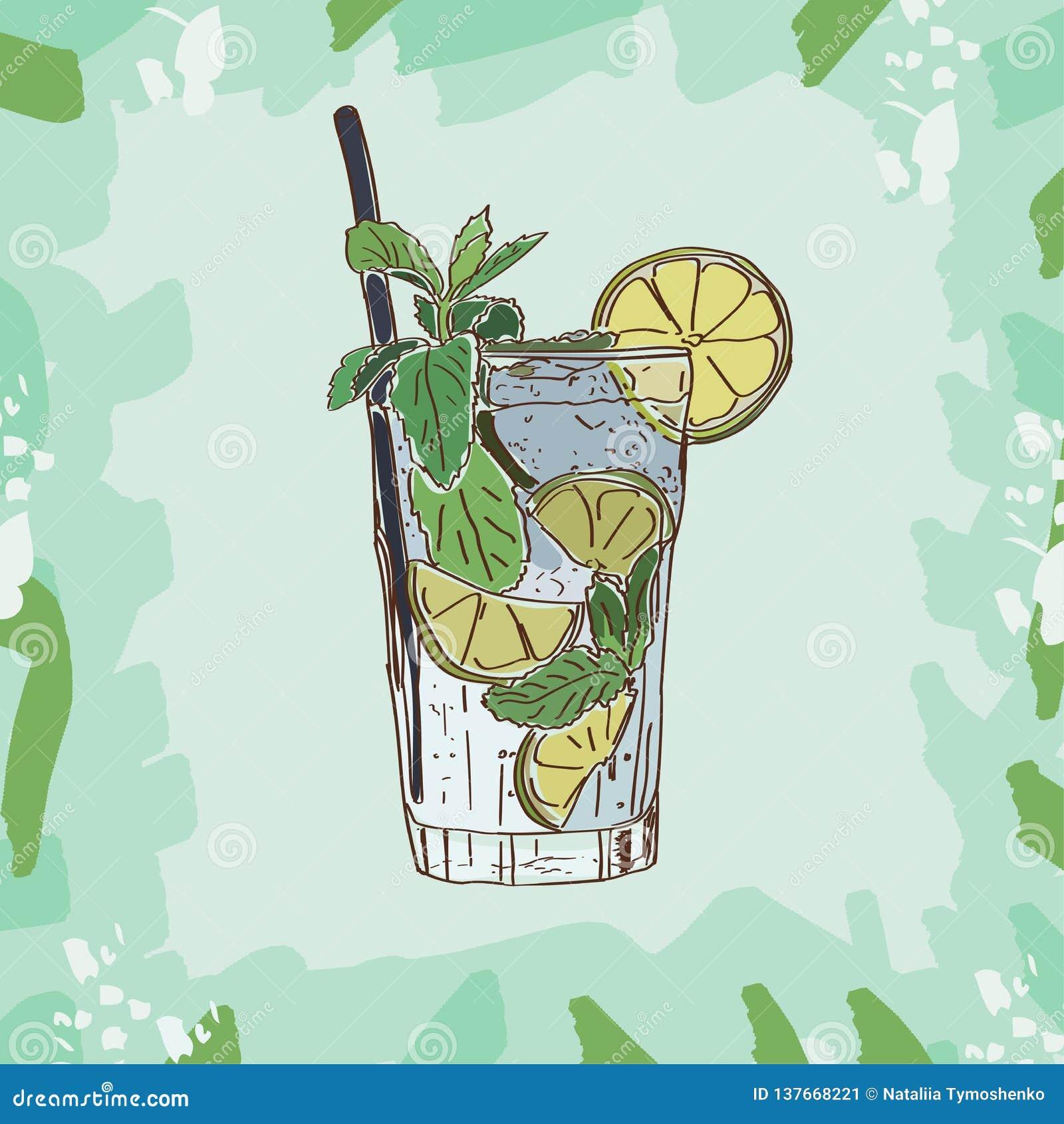 Illustrazione del cocktail di Mojito Vettore disegnato a mano della bevanda alcolica della barra Pop art