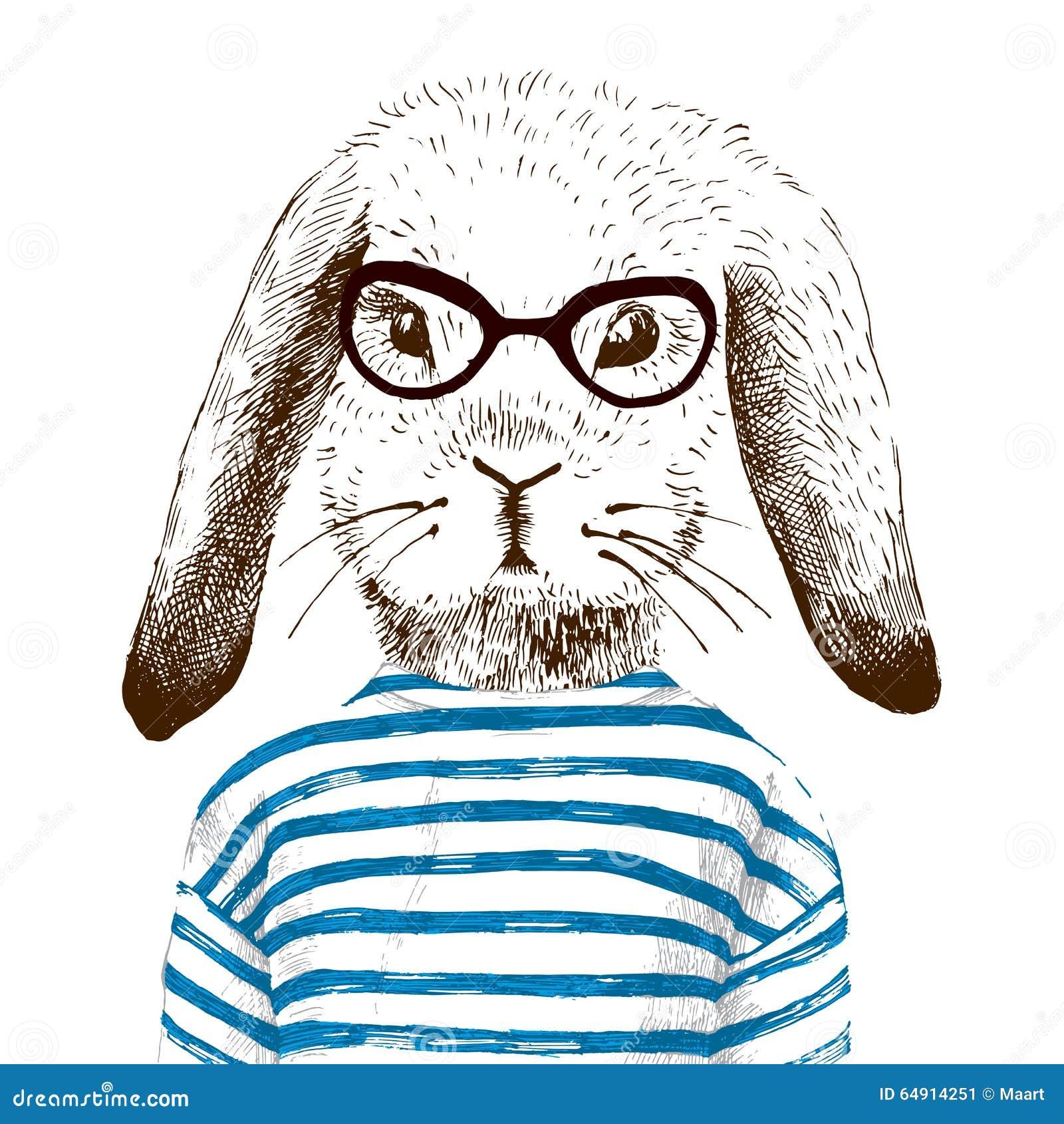 Illustrazione del coniglietto agghindato
