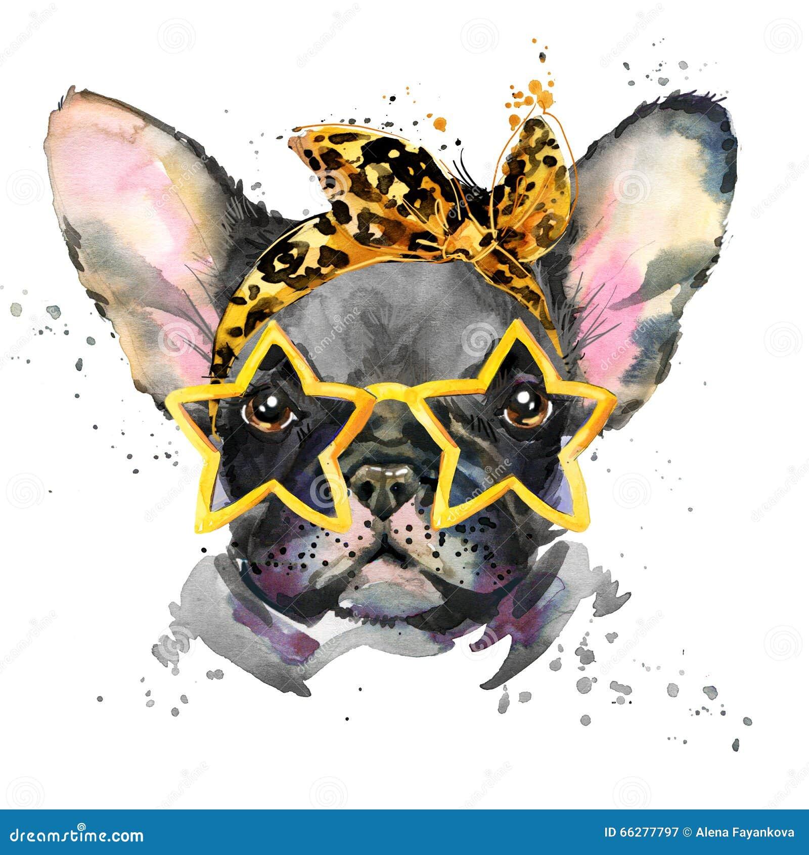 Illustrazione del cucciolo di cane dell acquerello Razza del bulldog francese