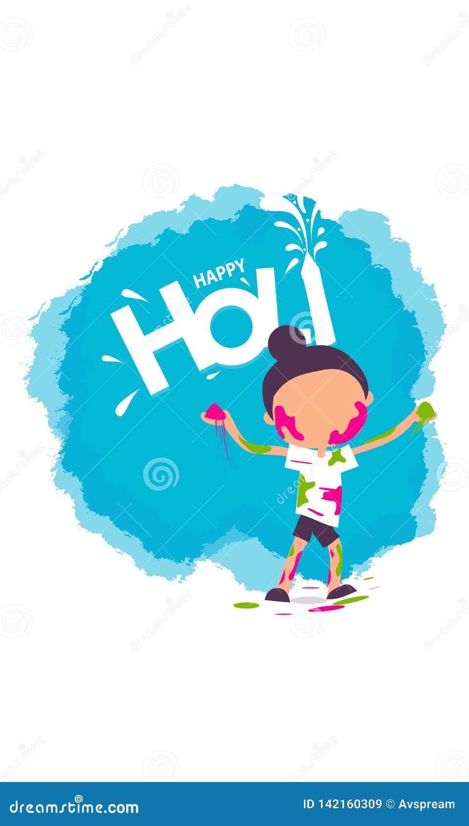 Illustrazione del fondo felice variopinto di Holi per il festival dei saluti di celebrazione di colori - vettore