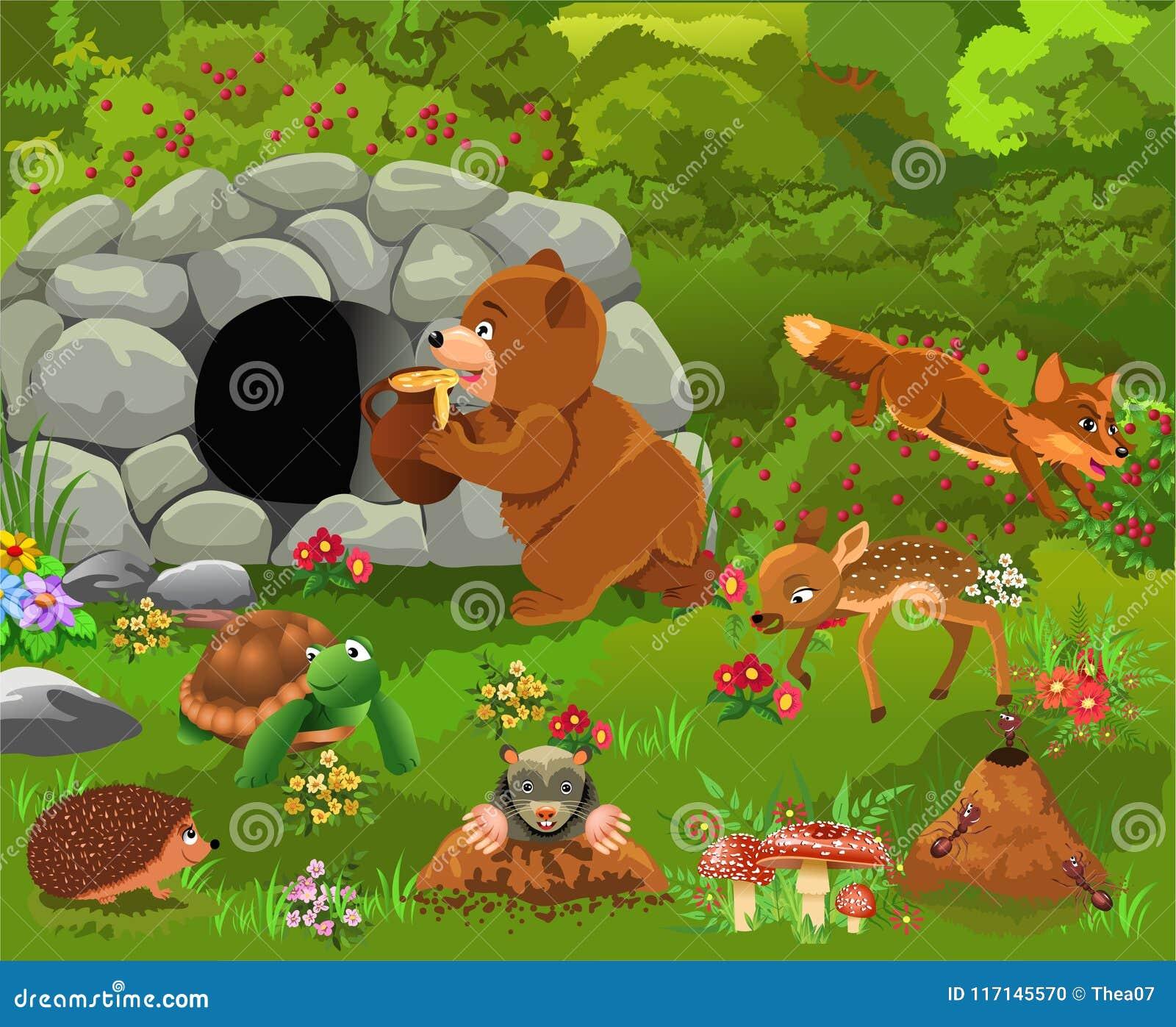 Selvatico foresta animali gruppo cartone animato